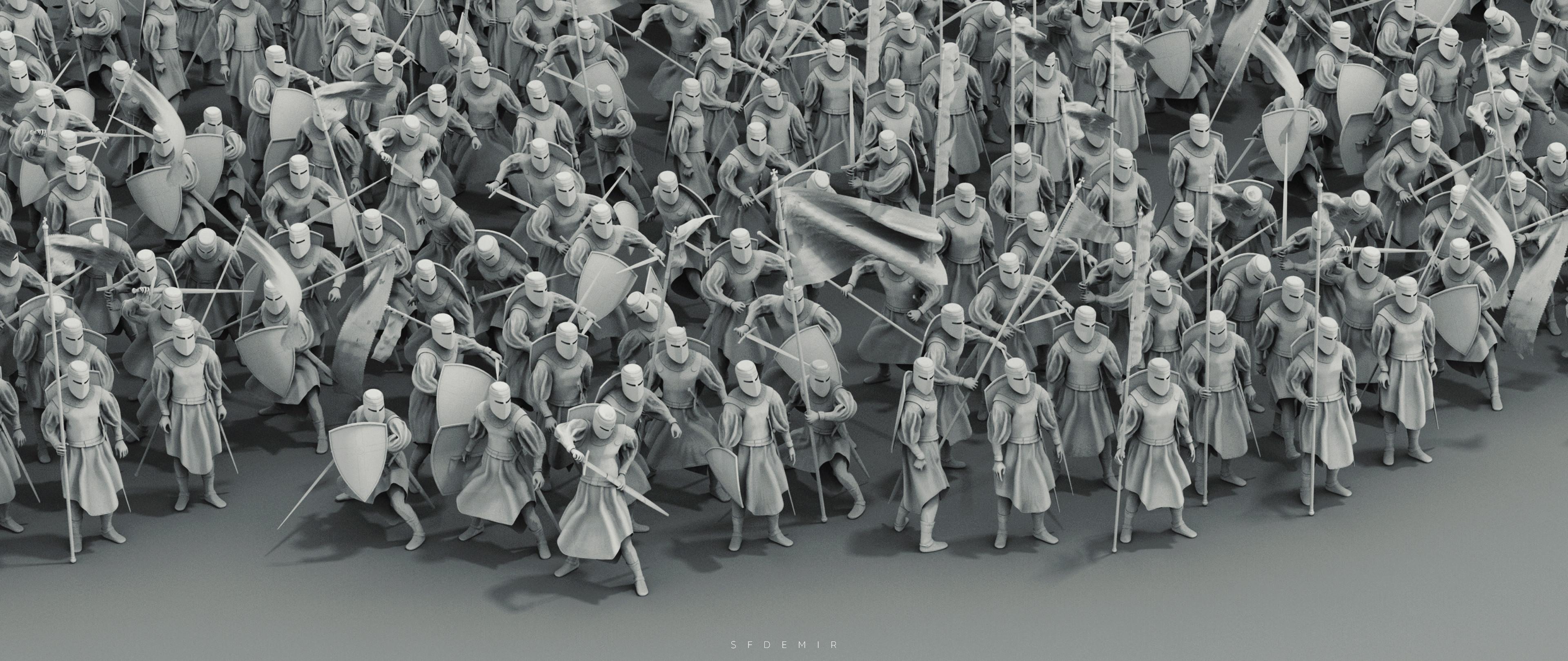 Preparing For War Scene - Shot 05 - Clay Render