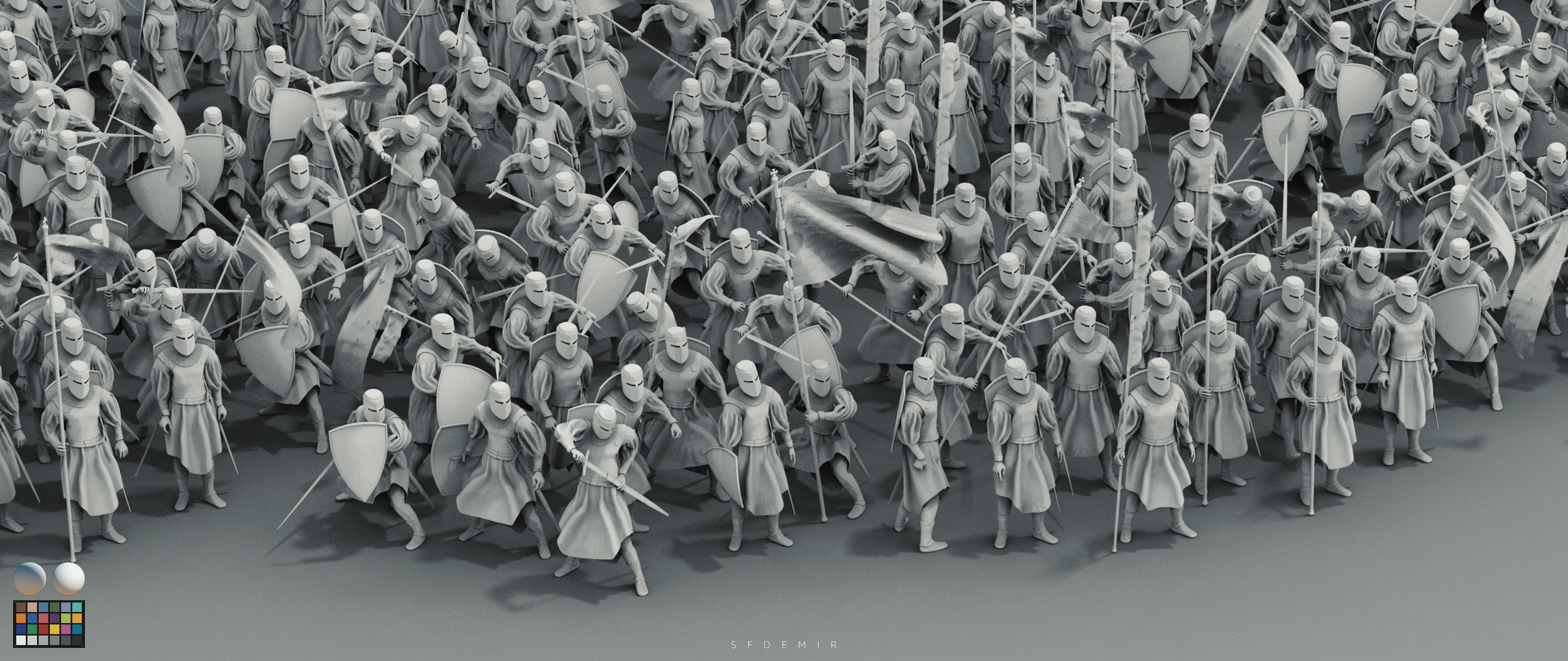 Preparing For War Scene - Shot 05 - Clay Render - With Machbet (Lightning Setup)
