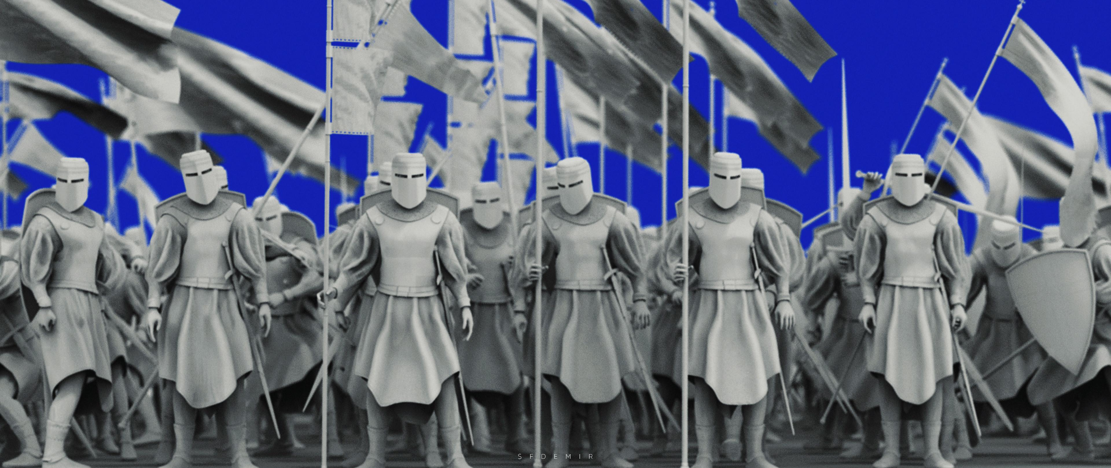 Preparing For War Scene - Shot 03 - Clay Render