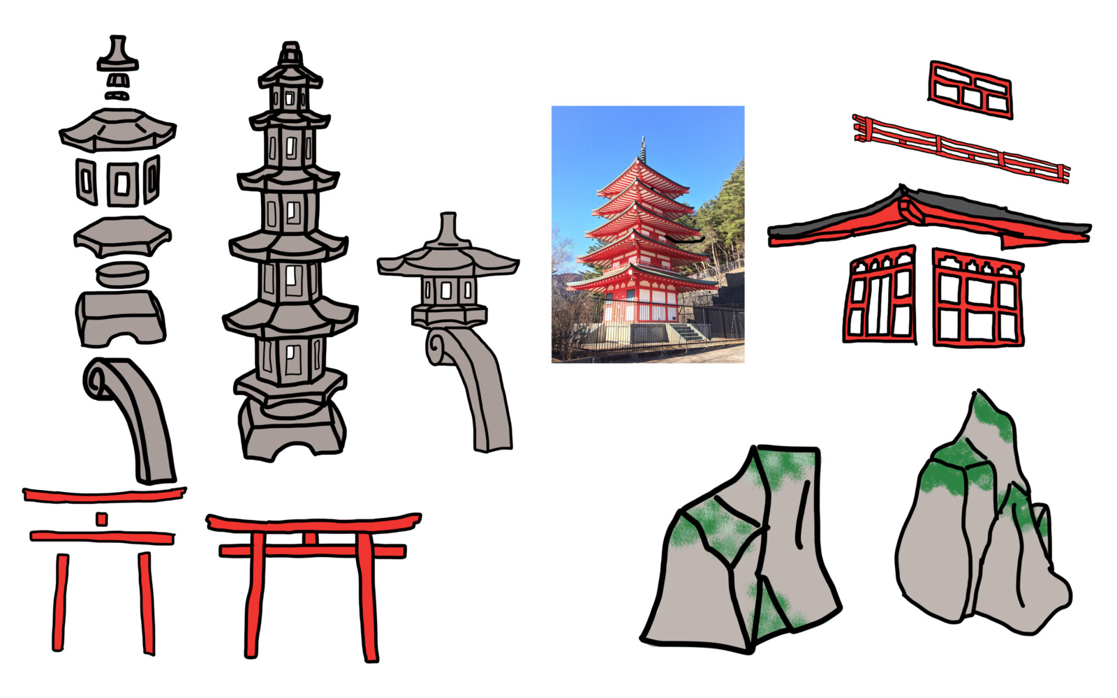 Early concept art of modular lanterns, arch pieces, and a few rocks
