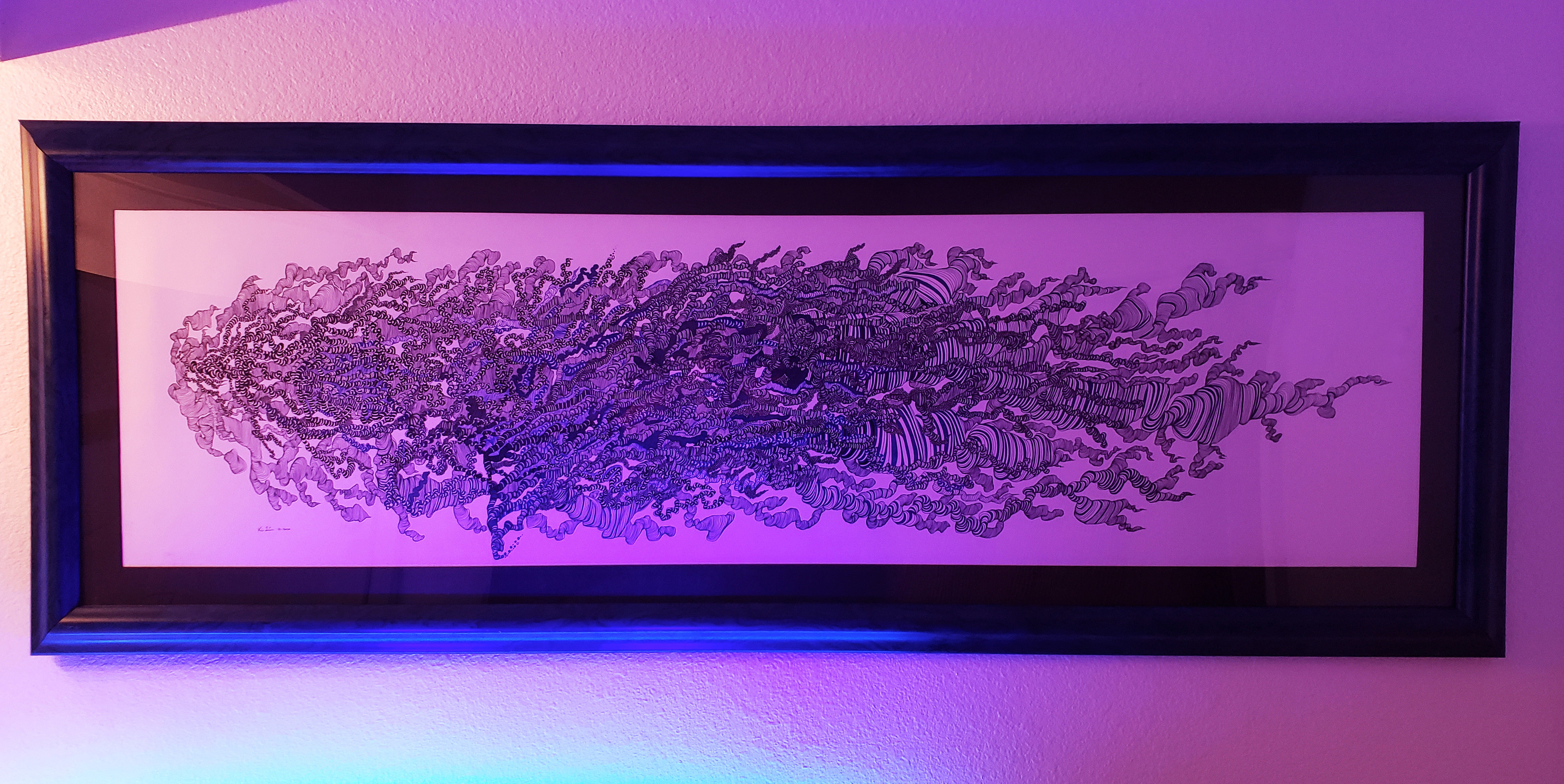 Framed and lit.