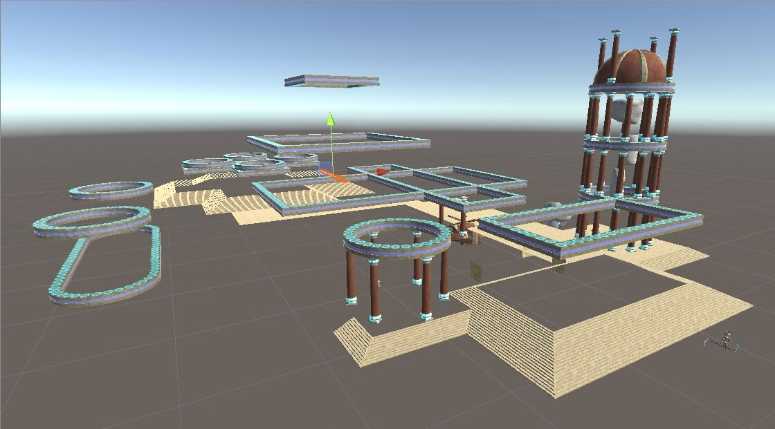 Temple layout: midway through placing the ground tiles