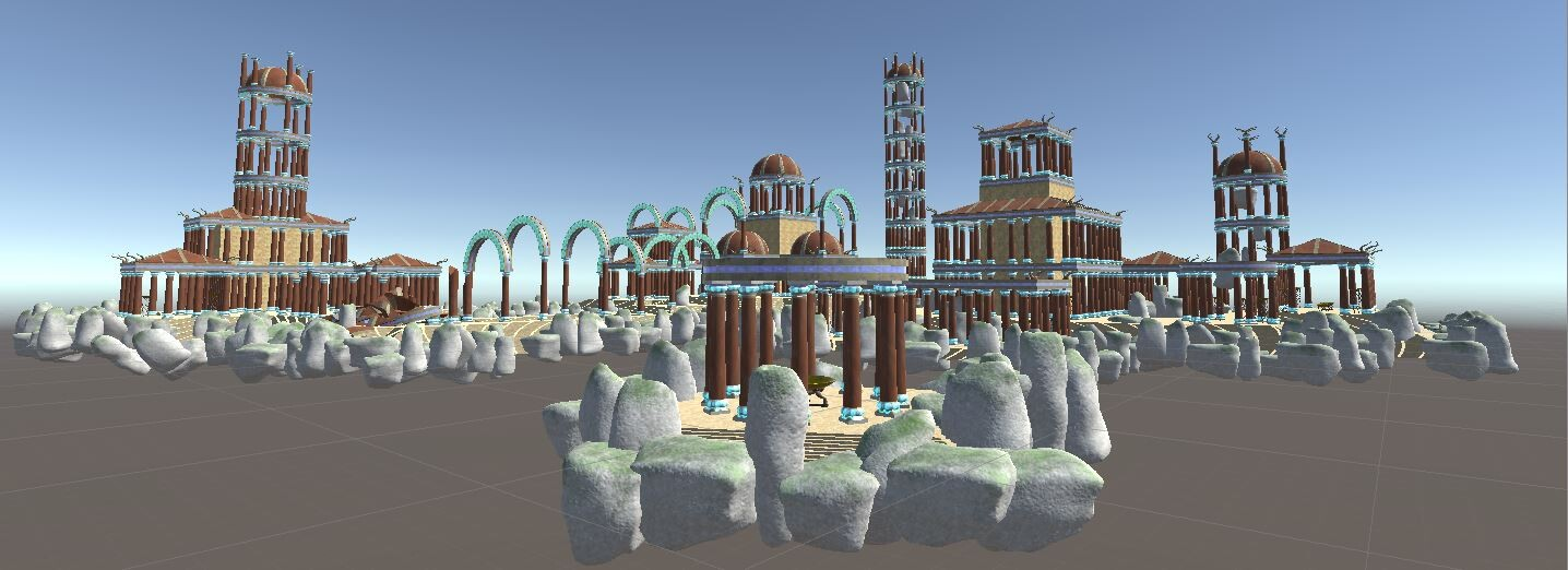Landscape, added the white stone monoliths