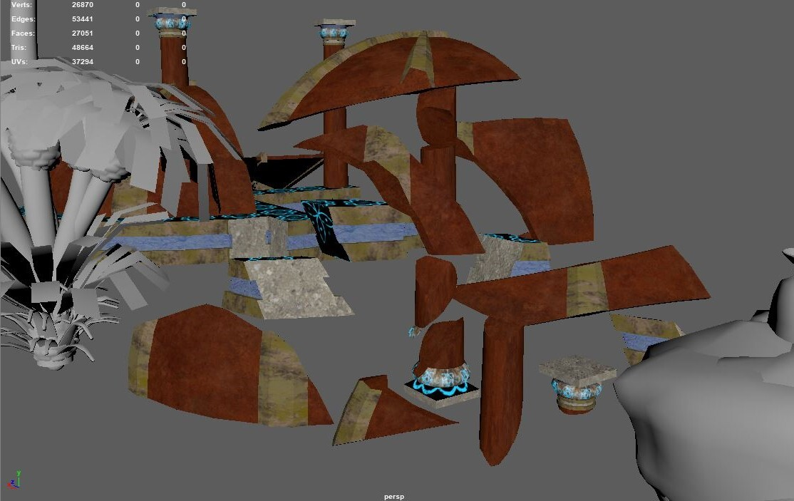 A shot of the ruined assets and plants as I uv unwrapped the pieces.