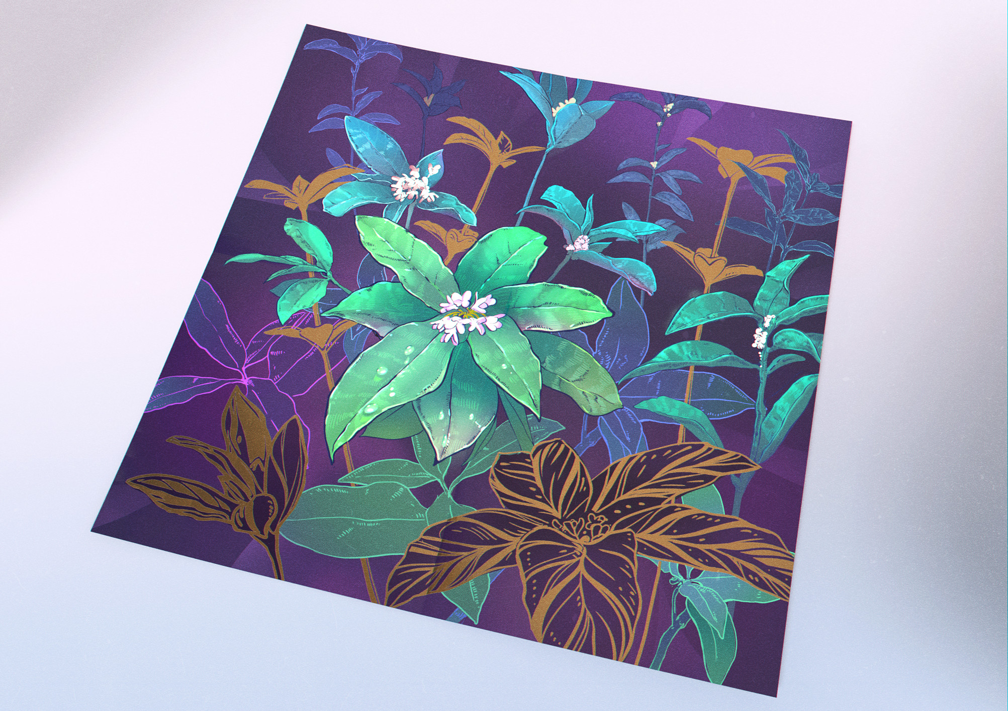 As a poster with plants printed in metallic ink