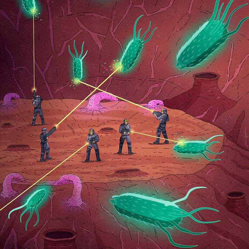 Virus war illustration