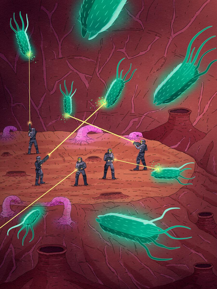 Virus war game illustration