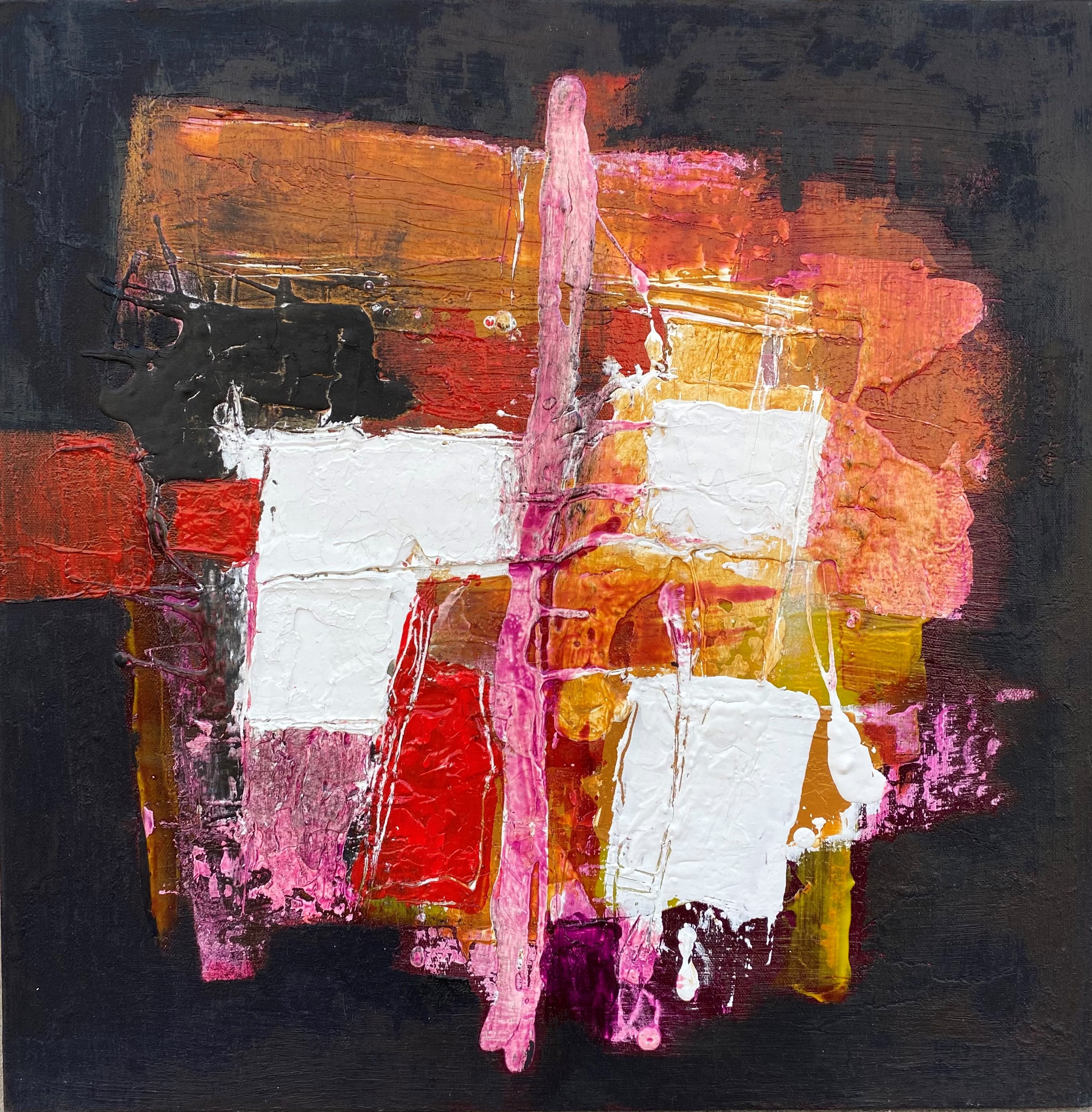 Muta-Azione 30x30 Oil Acrylic and Plaster on Canvas