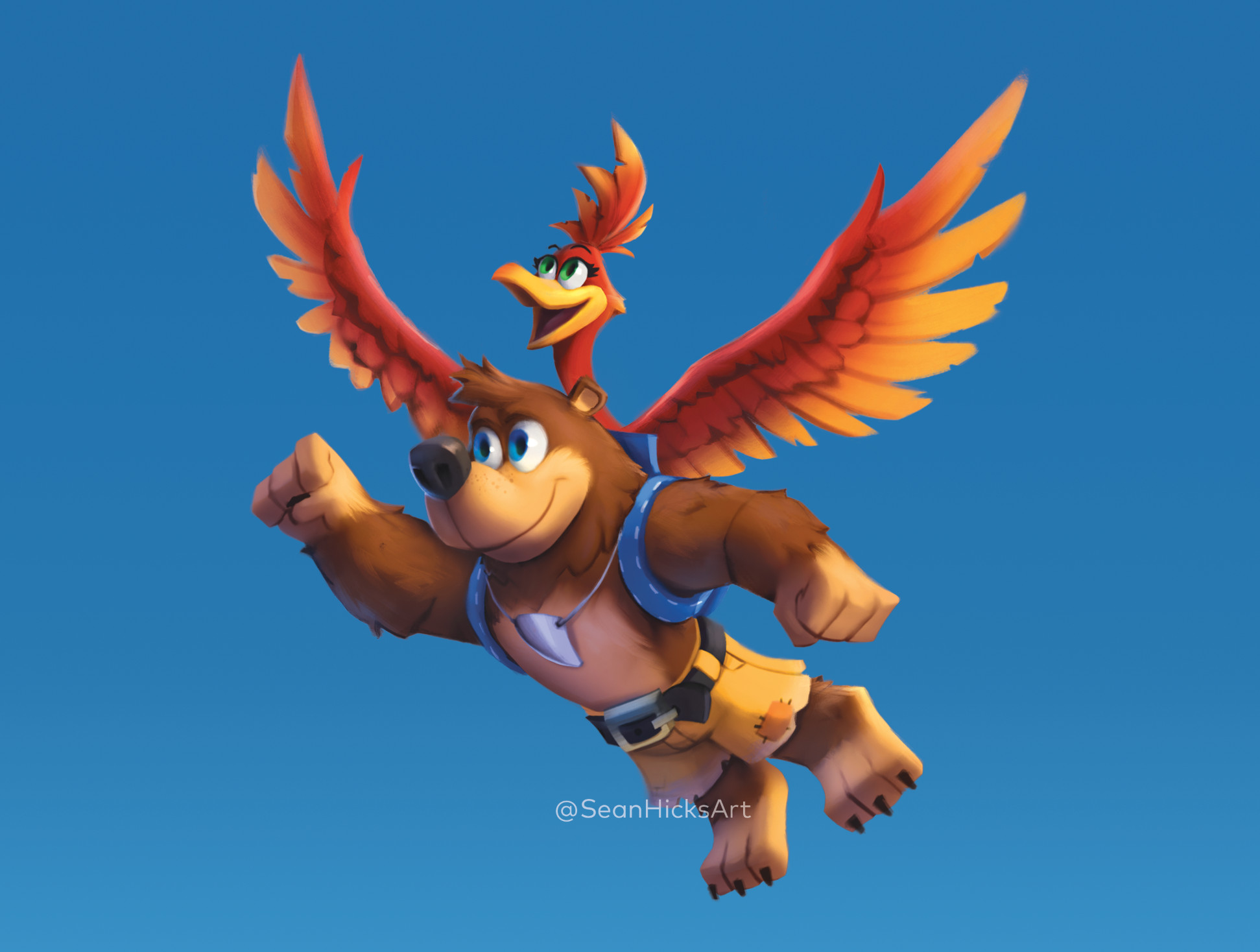 The bear and bird flying! Showcasing a stylized art direction for Banjo & Kazooie!