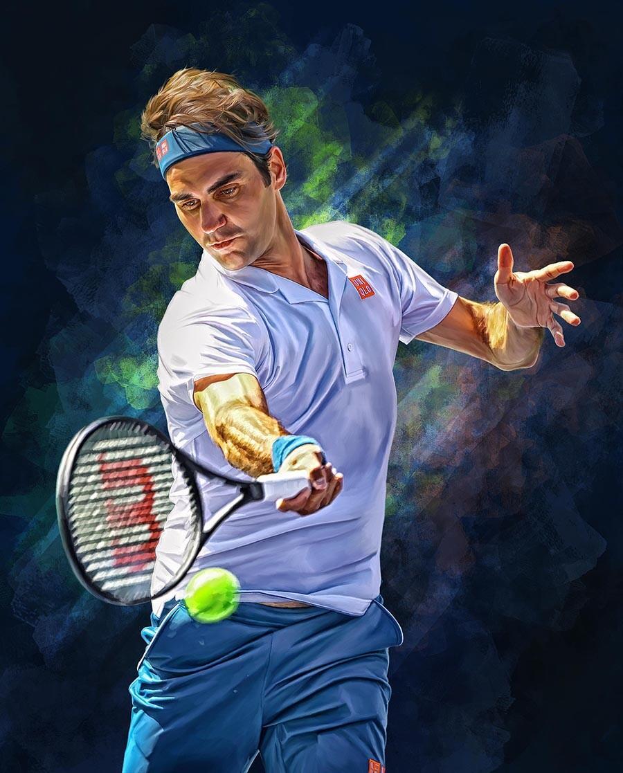 ArtStation - Roger Federer forehand. Digital artwork poster. Tennis., Sam  Brannan