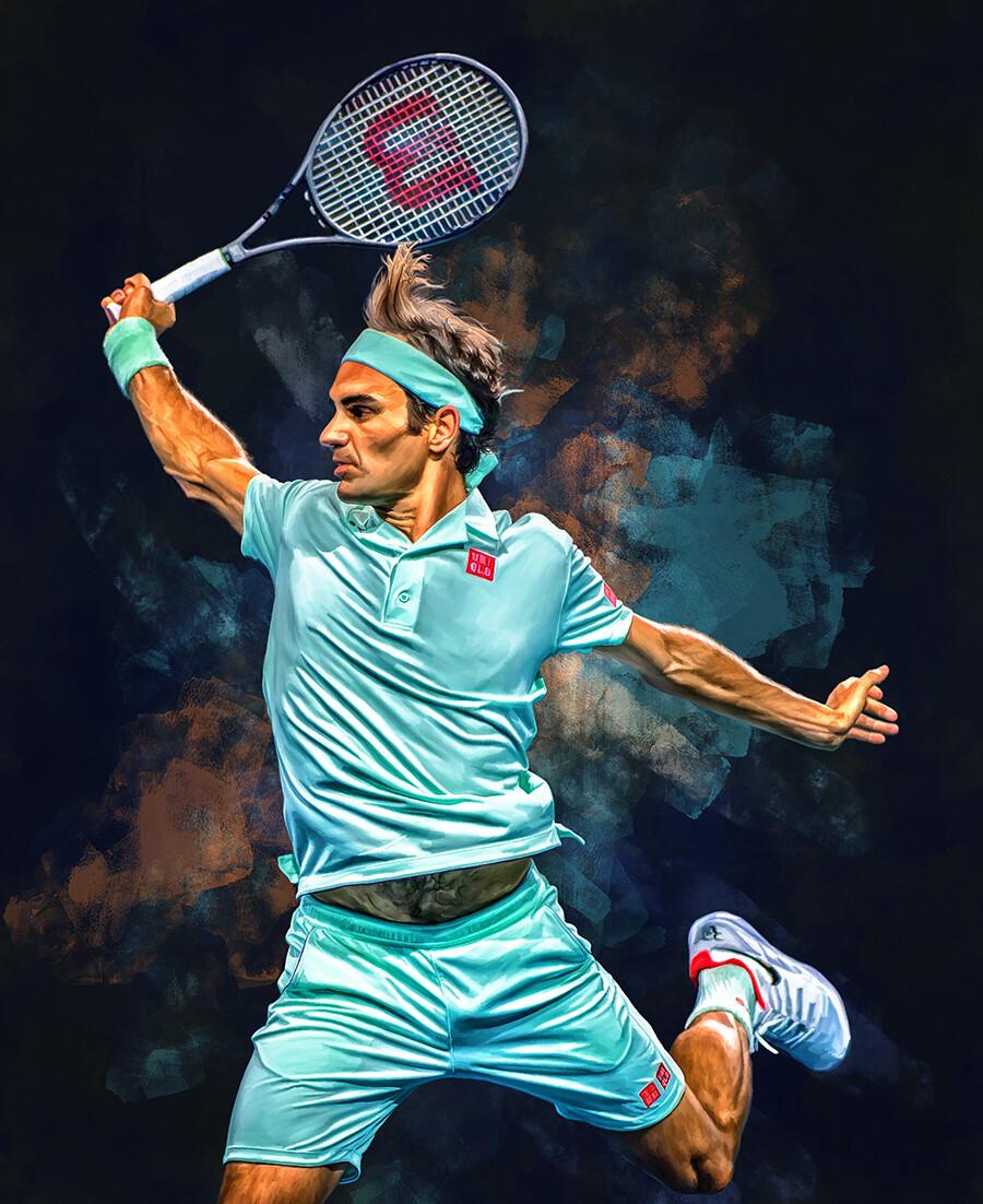 ArtStation - Roger Federer backhand. Digital artwork tennis poster., Sam  Brannan
