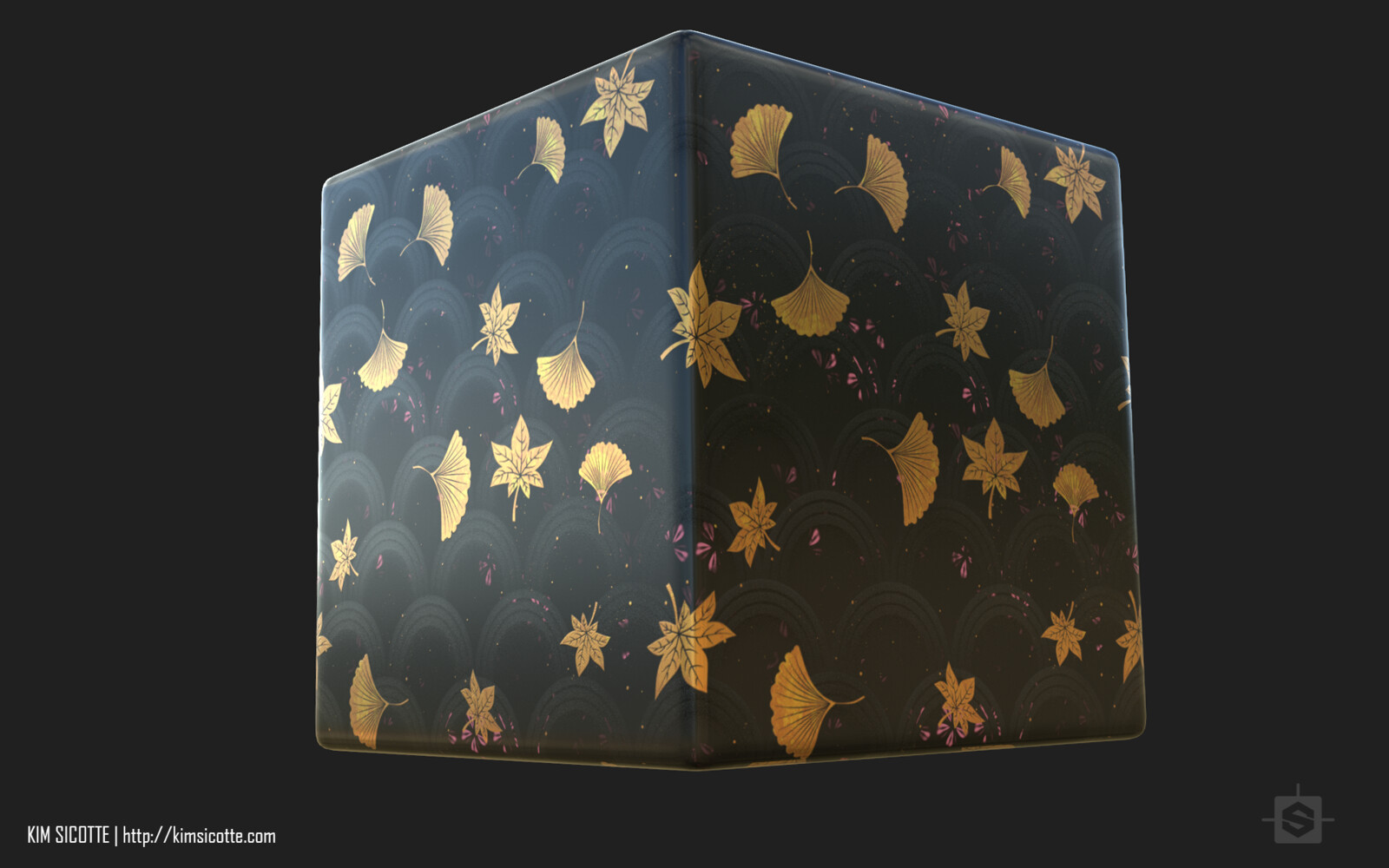 This is another substance using many of the same elements to create a lacquered wood with gold leaf details.