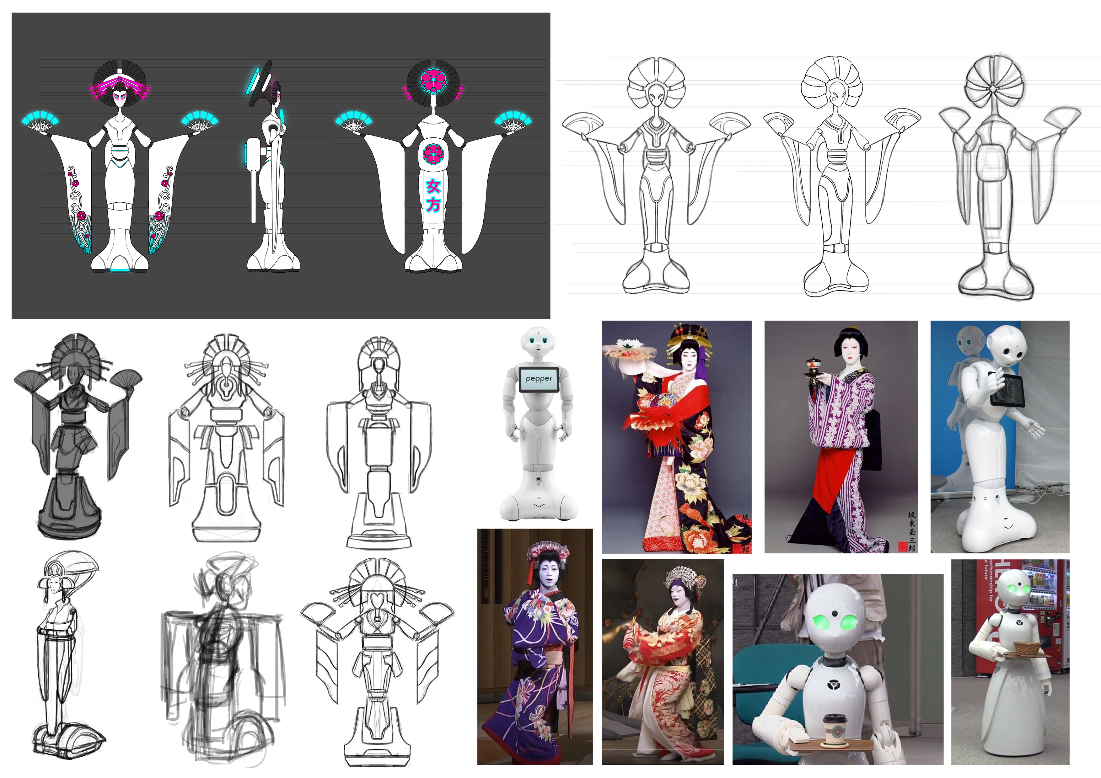 Reference and initial sketches and thumbnails