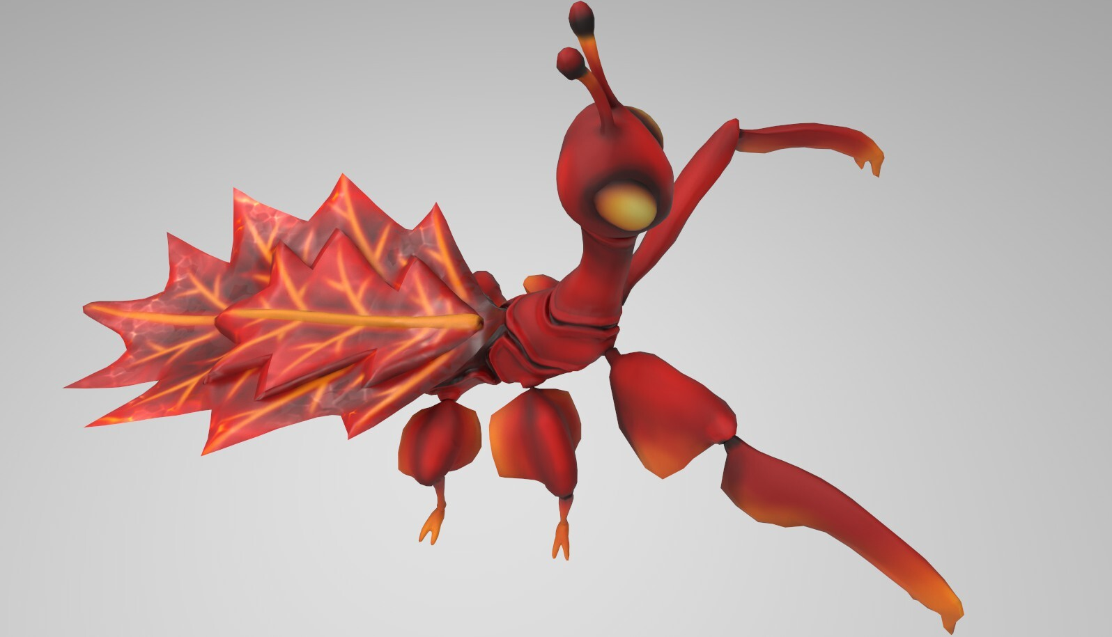 Leaf insect textured: red variant. Iray render.