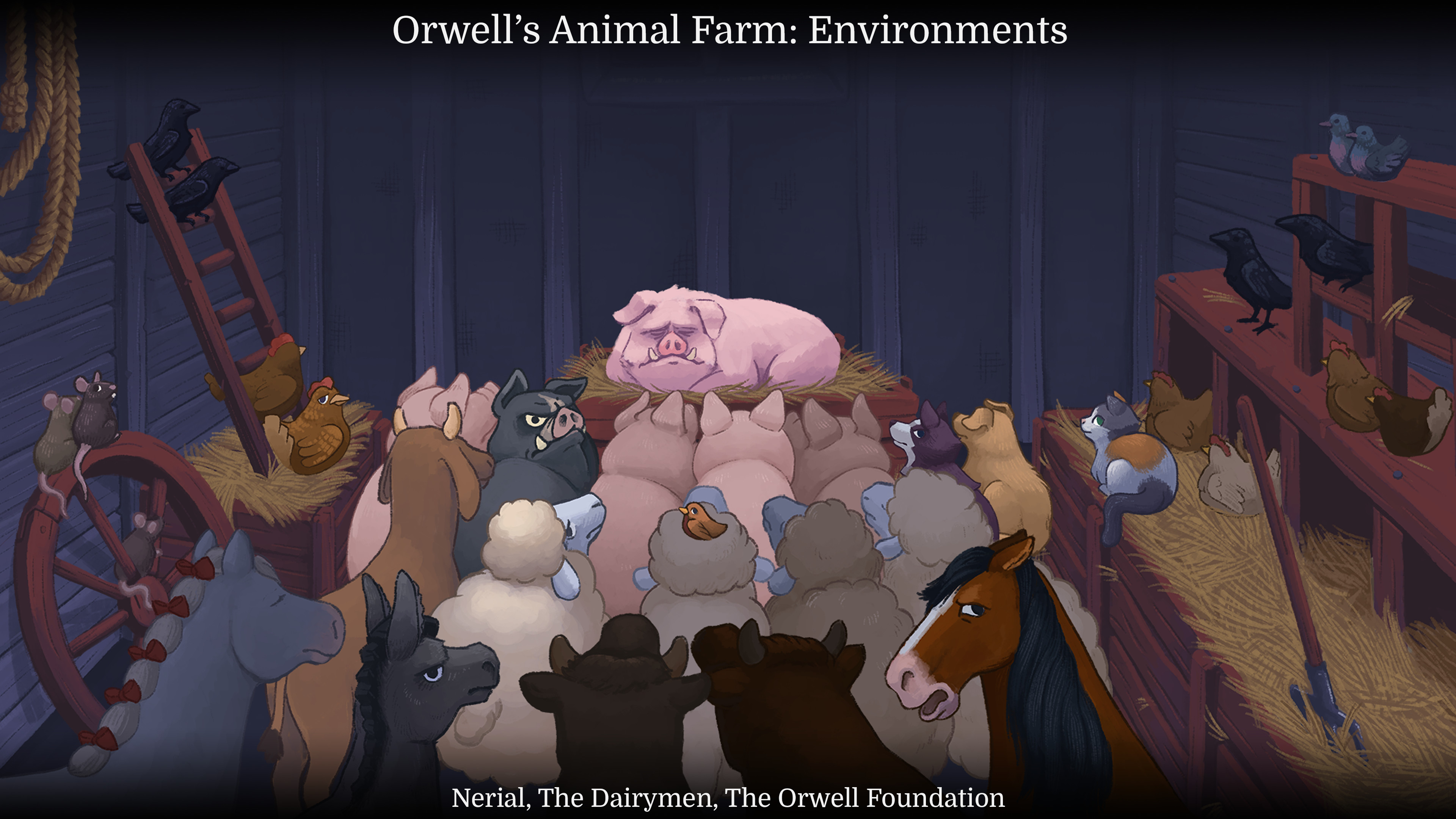 The barn meeting scene. Certain animals could be hovered over and selected for dialogue options.