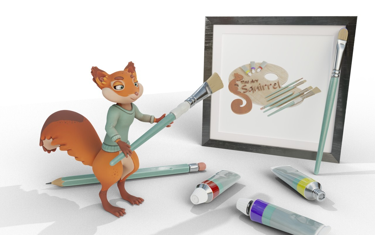 The Art Squirrel 3D logo and new mascot