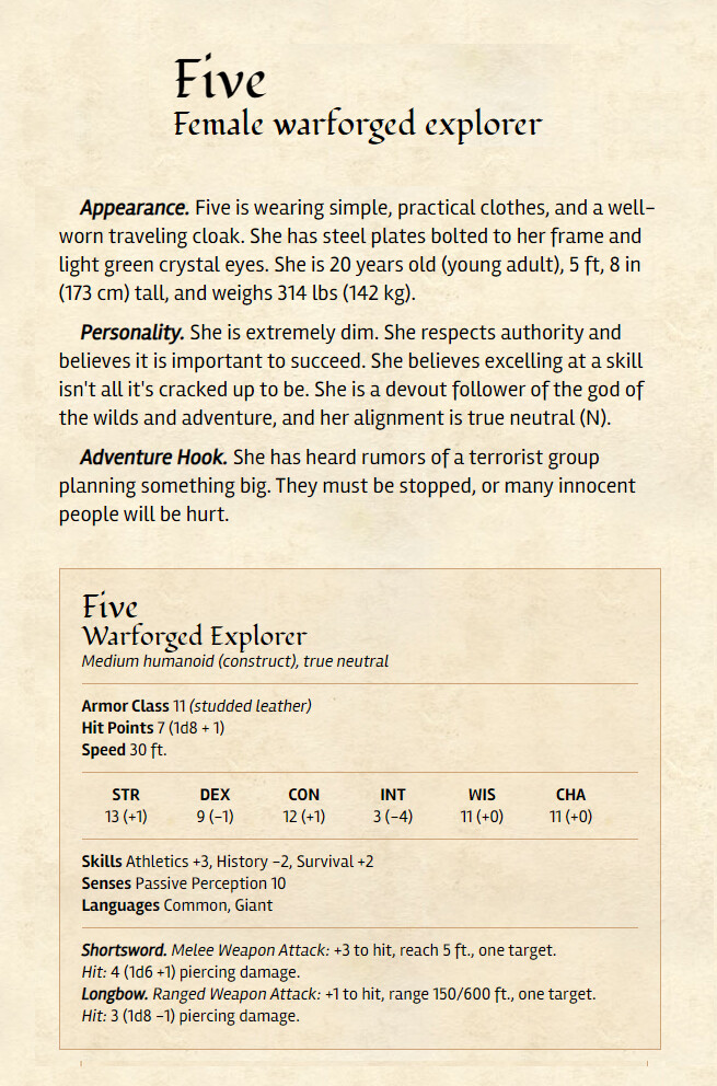 The website I used to generate the dnd character description which the design is based off