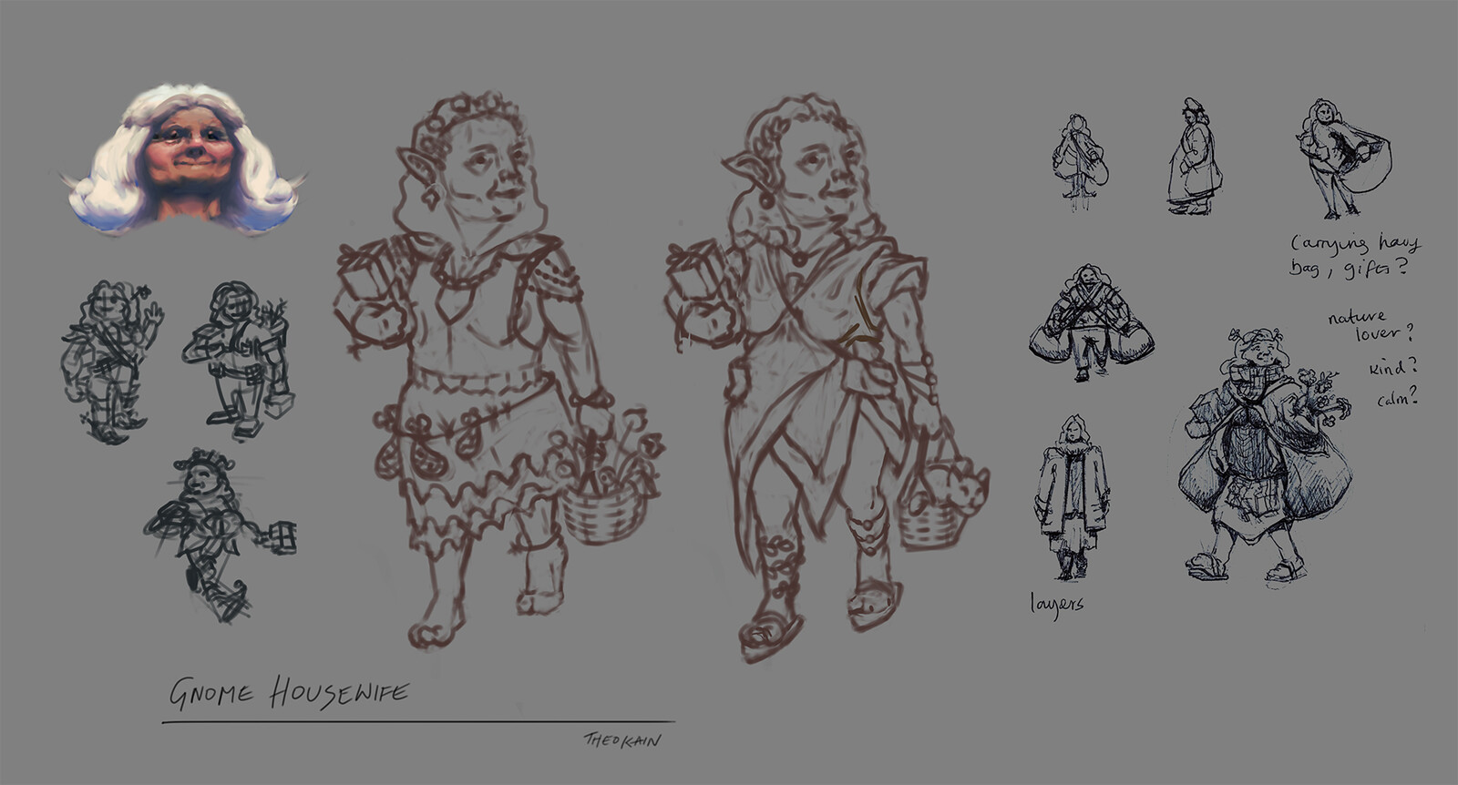 Character explorations, what does a gnome housewife with nice clothes and in touch with nature look like?