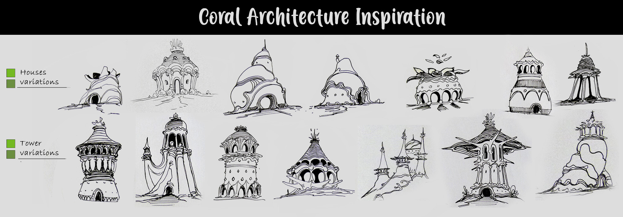 Architecture sketches made by Victor Fritsch. I decided to use these as inspiration for my buildings instead of the ones in his final concept painting