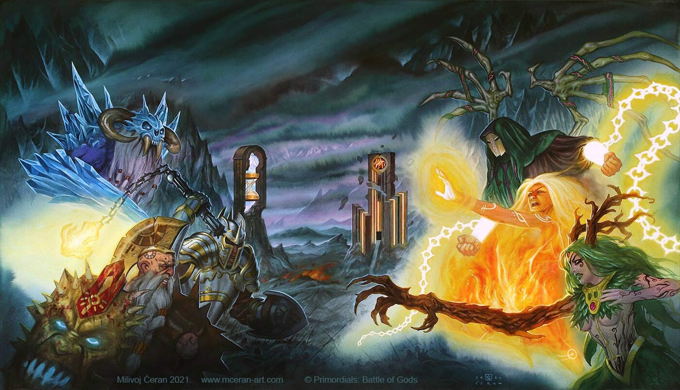 """Primordials: Battle of Gods"" - 46 x 80 cm  (18,1 x 31,5 inches) - ecoline, acrylic and airbrush on paper -Keyart/cover for the video game ""Primordials: Battle of Gods"", Wiregames"