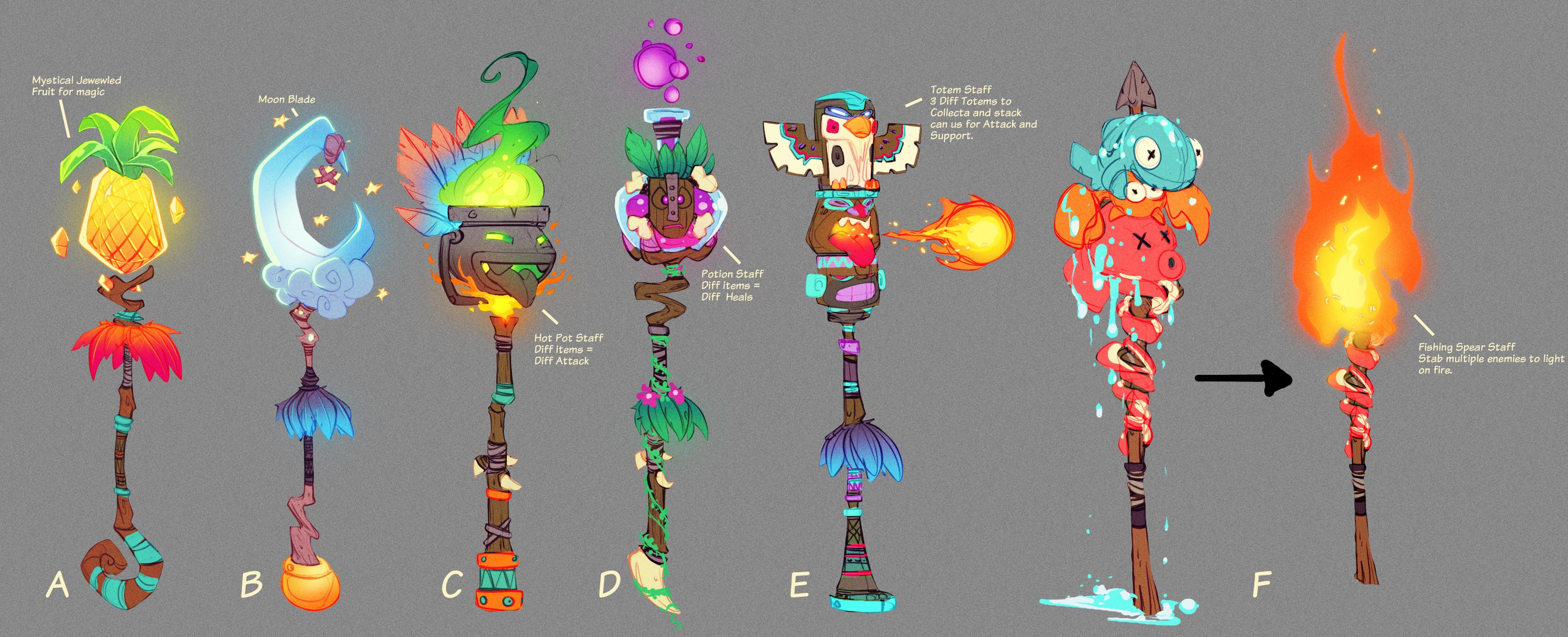 Early Crash 4 concept development: Papu Papu staff ideations.