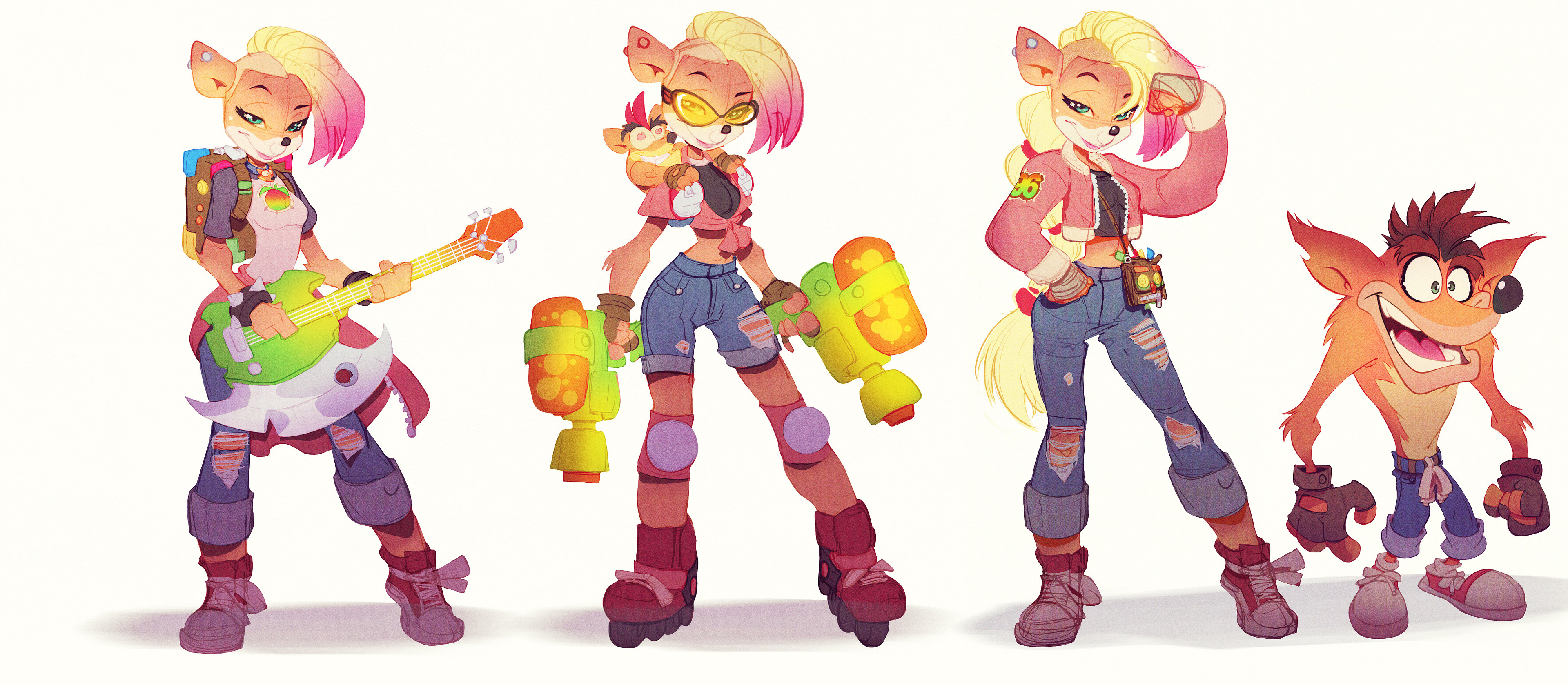 Early Crash 4 concept development. Here's an early takes I did on Tawna! I can't share everything but what I can, I will...