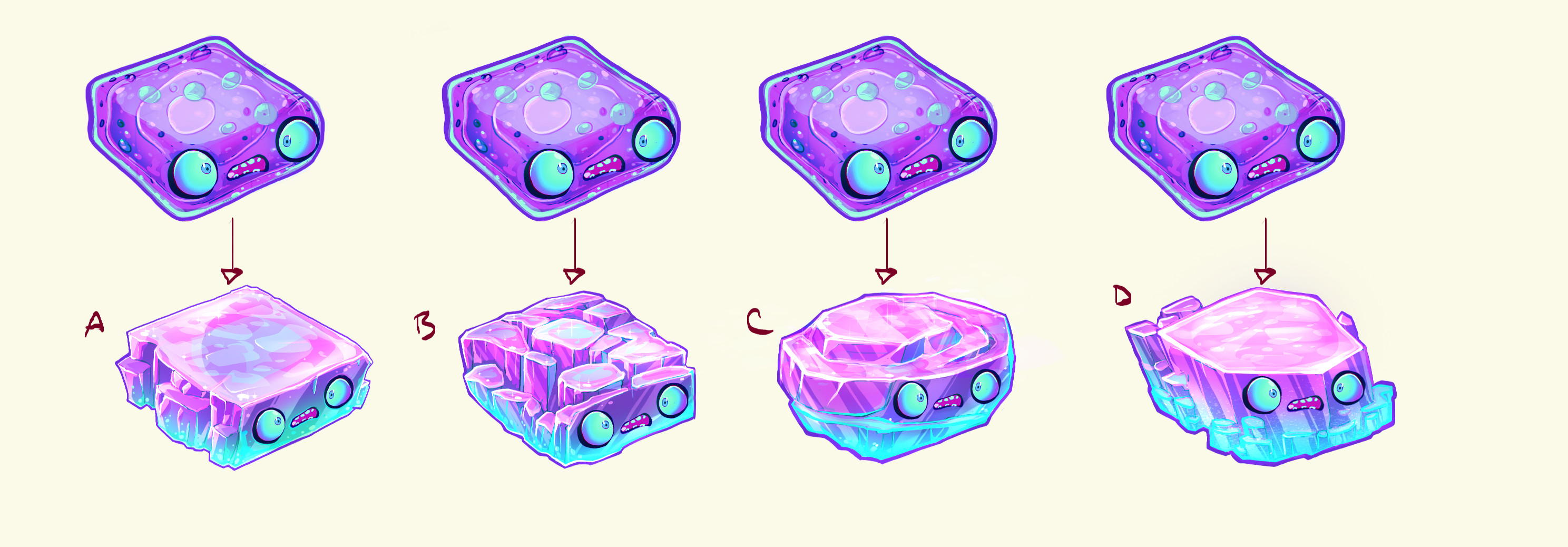 Final ideations for Neo Cortexs' weapon. Jelly mode on top, solid options on bottom.