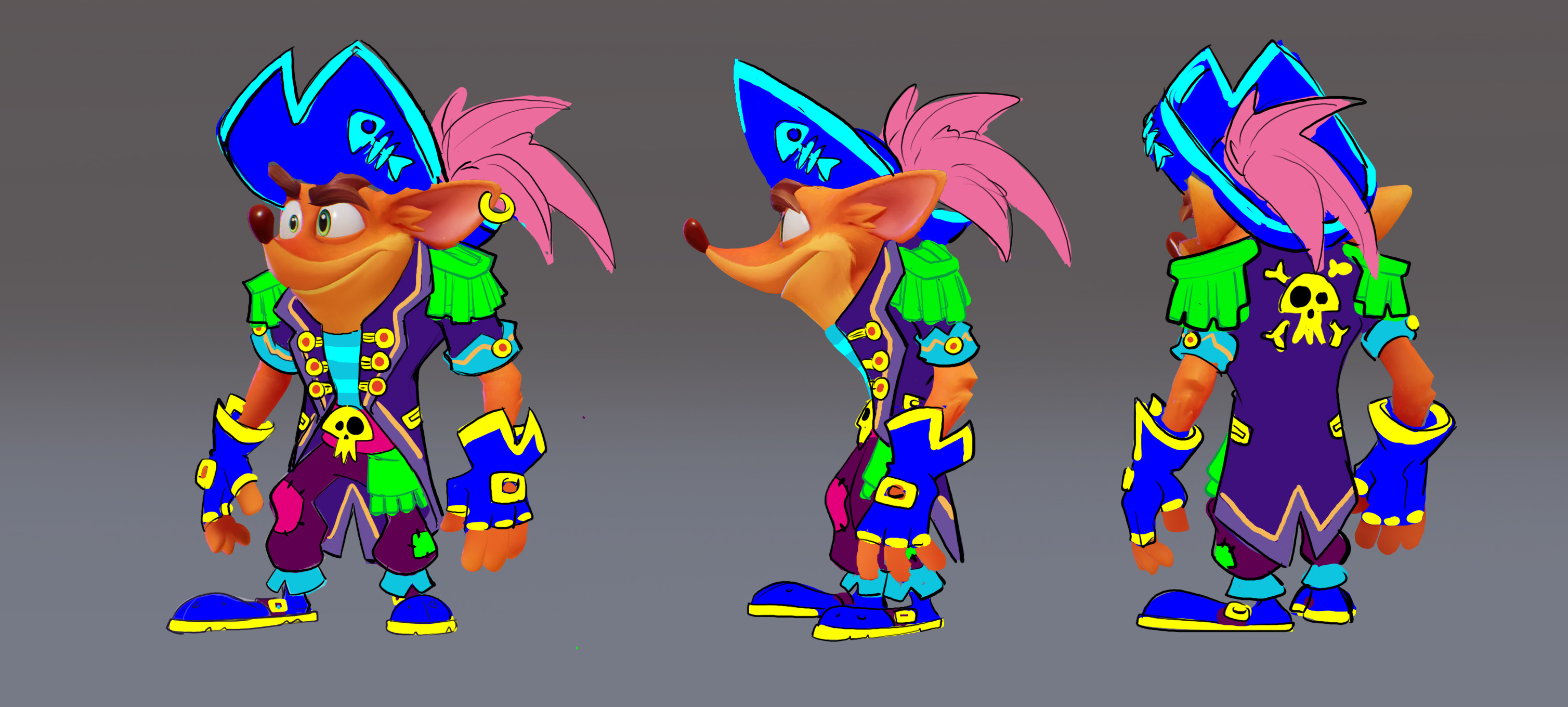 4th round of Crash Pirate ideation blobbys, front middle and back.