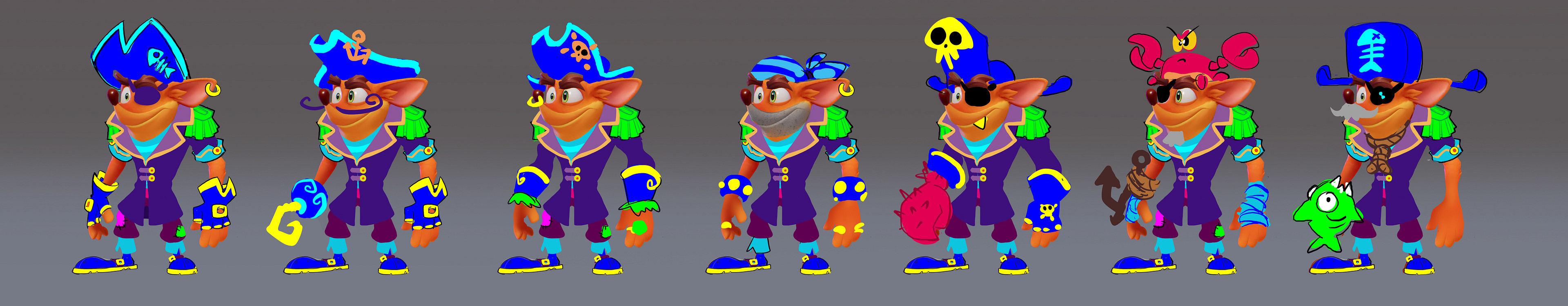 2nd round of Crash Pirate ideations, I tend to blob in neons not for color but for shape layering. I dunno, I find greyscale hard to see lol