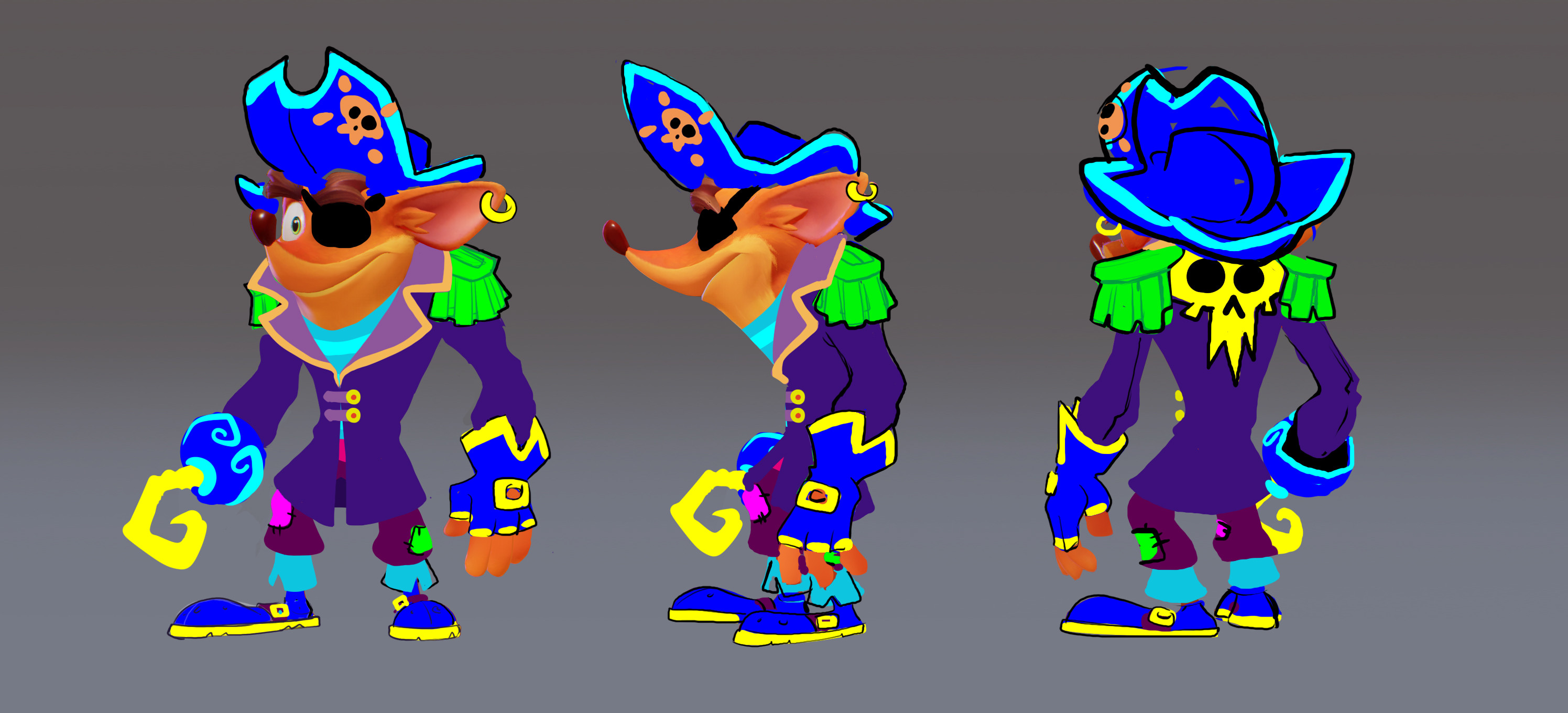 3rd round of Crash Pirate ideation blobbys, front middle and back.