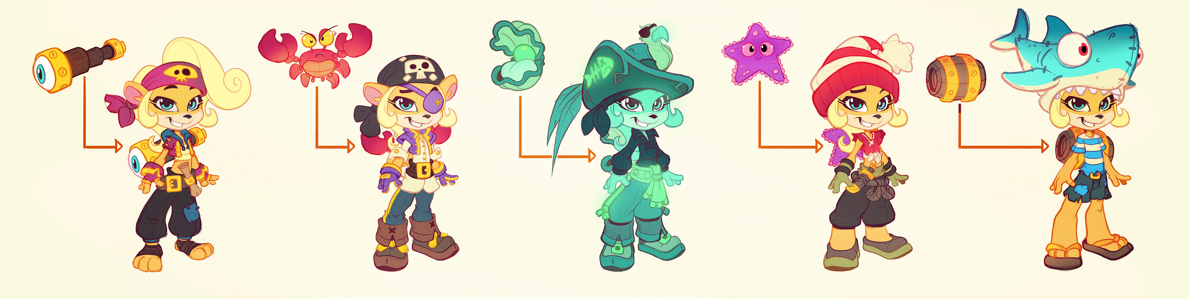 Early Cocoa pirate ideations, I'm a big fan of the shark hat to be honest lol.