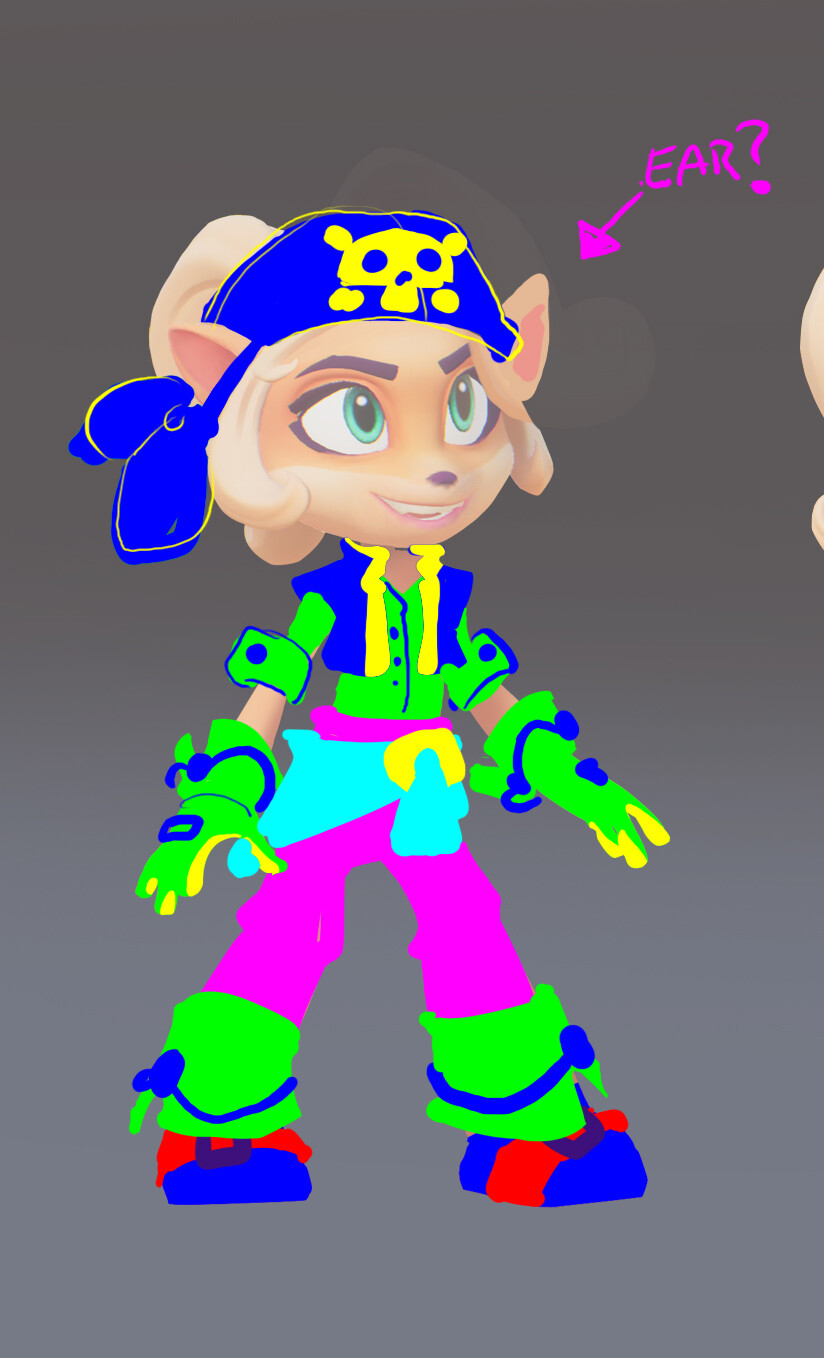 Based on feedback and Pirate Crash outfit, they went with the 2nd design quickly.