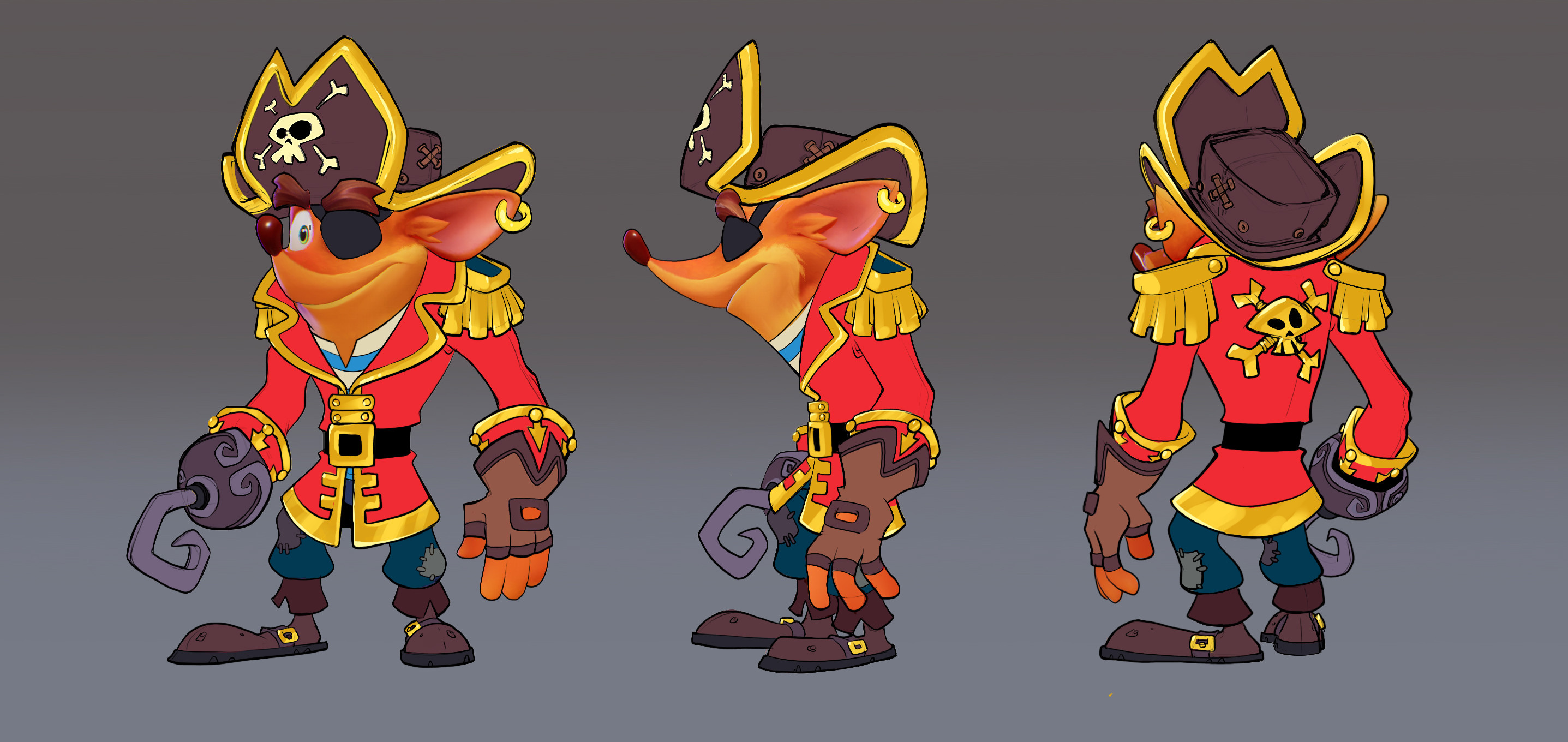 Final Crash Pirate Skin Concept: Minimal rendering requested due to time constraints. Also, more simplified costume details form last ideation, sort of a mix between 3rd and 4th round designs.