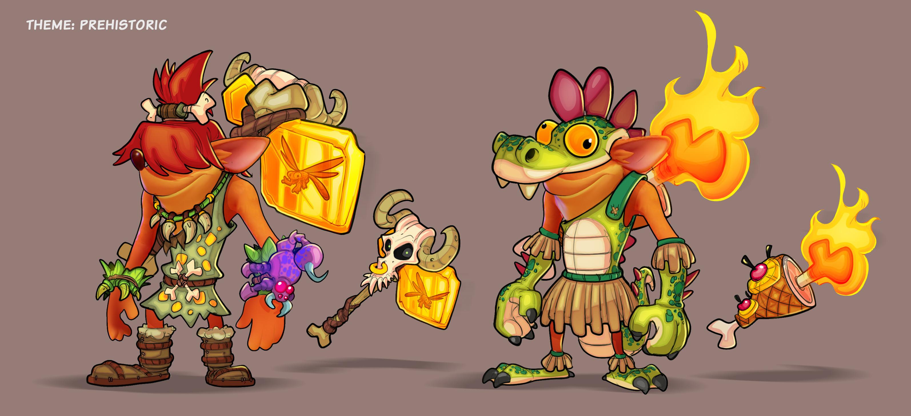 Crash Prehistoric Skins concept - I tried to work in some Spyro ref :P