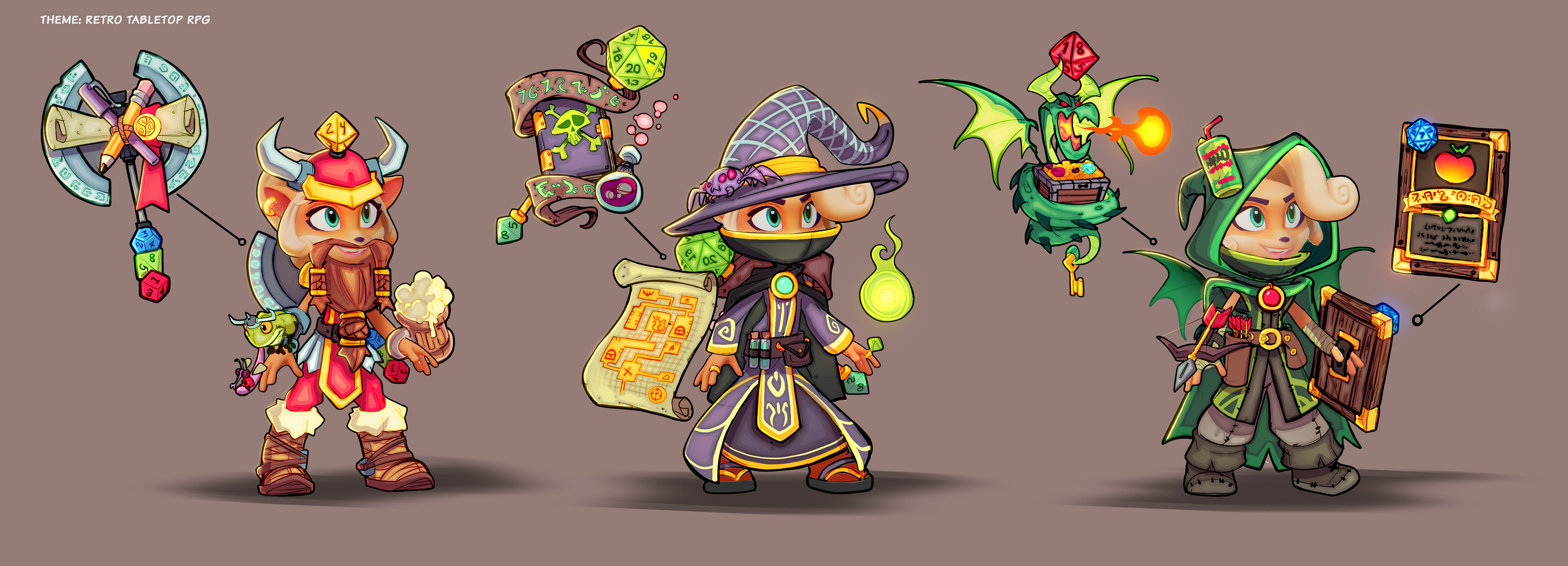 D&D styled skin ideations. I figured Coco must play tabletop games when she's away from the laptop.