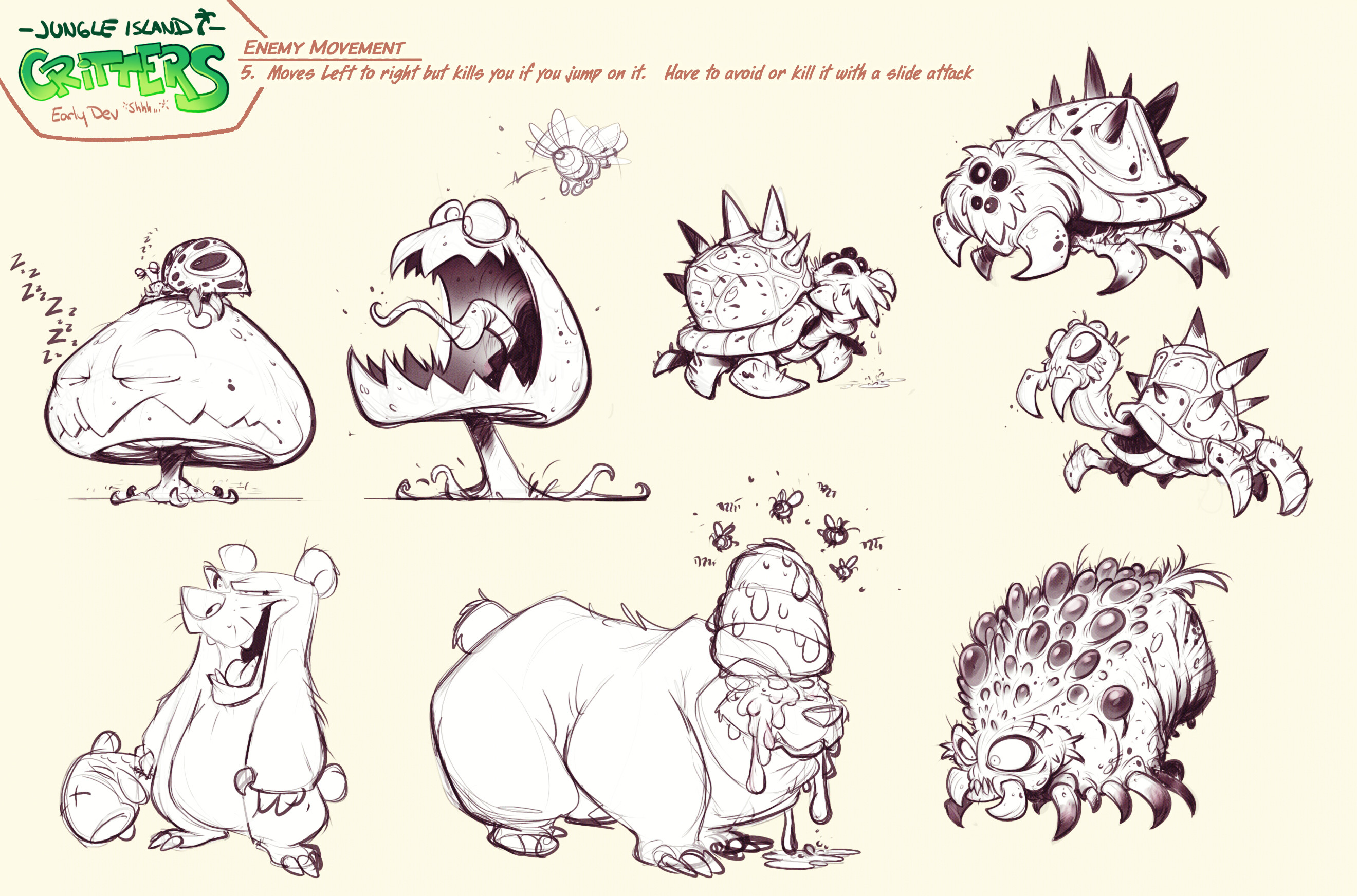 Critter Line sketches I never got the chance to color. Zombie bees that control creatures with their honey is an idea I've had since I was a kid. One day, I'll get that into a game.