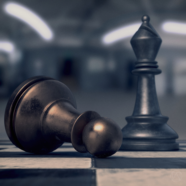 Steel bishop vs bronze pawn. Rendered in Cycles.