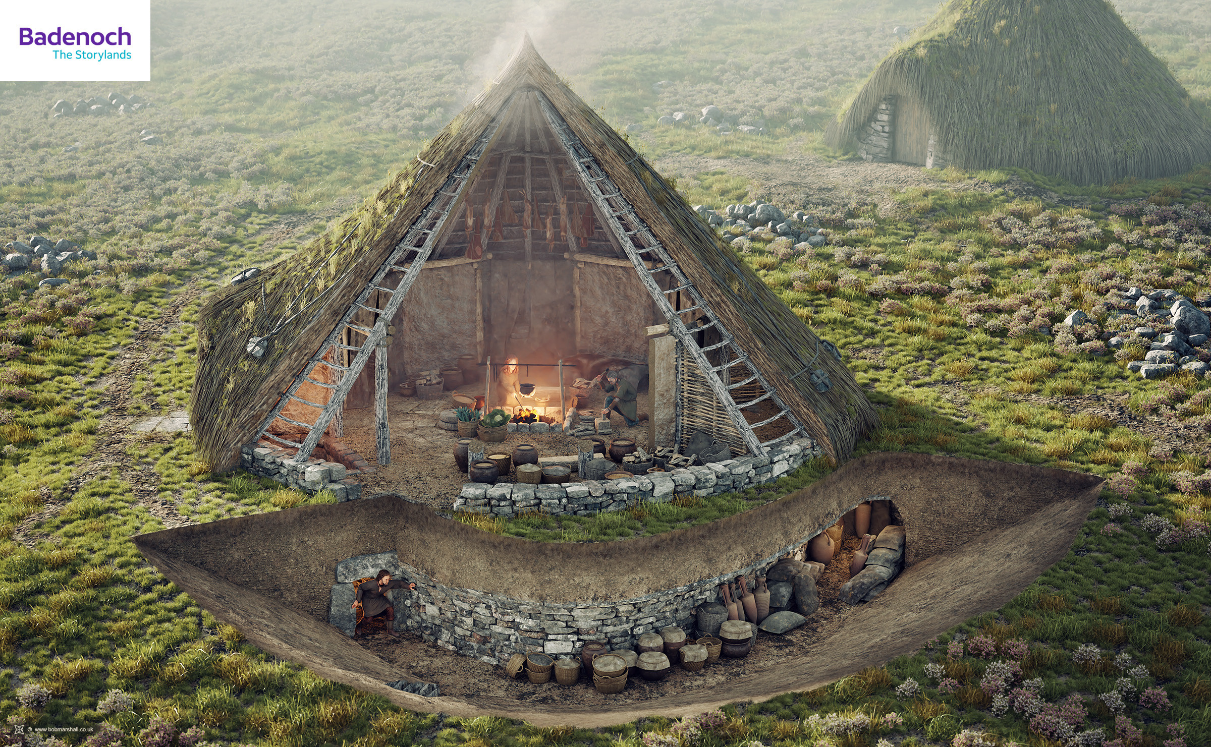A roundhouse reconstruction showing its hypothetical relationship to a souterrain or underground chamber. Late Iron Age, Highland Scotland.