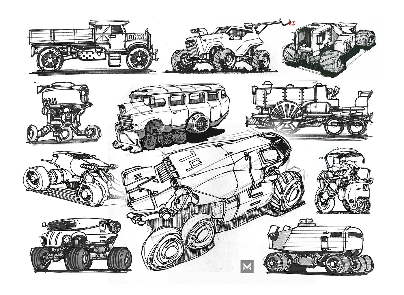 Various vehicle-type sketches