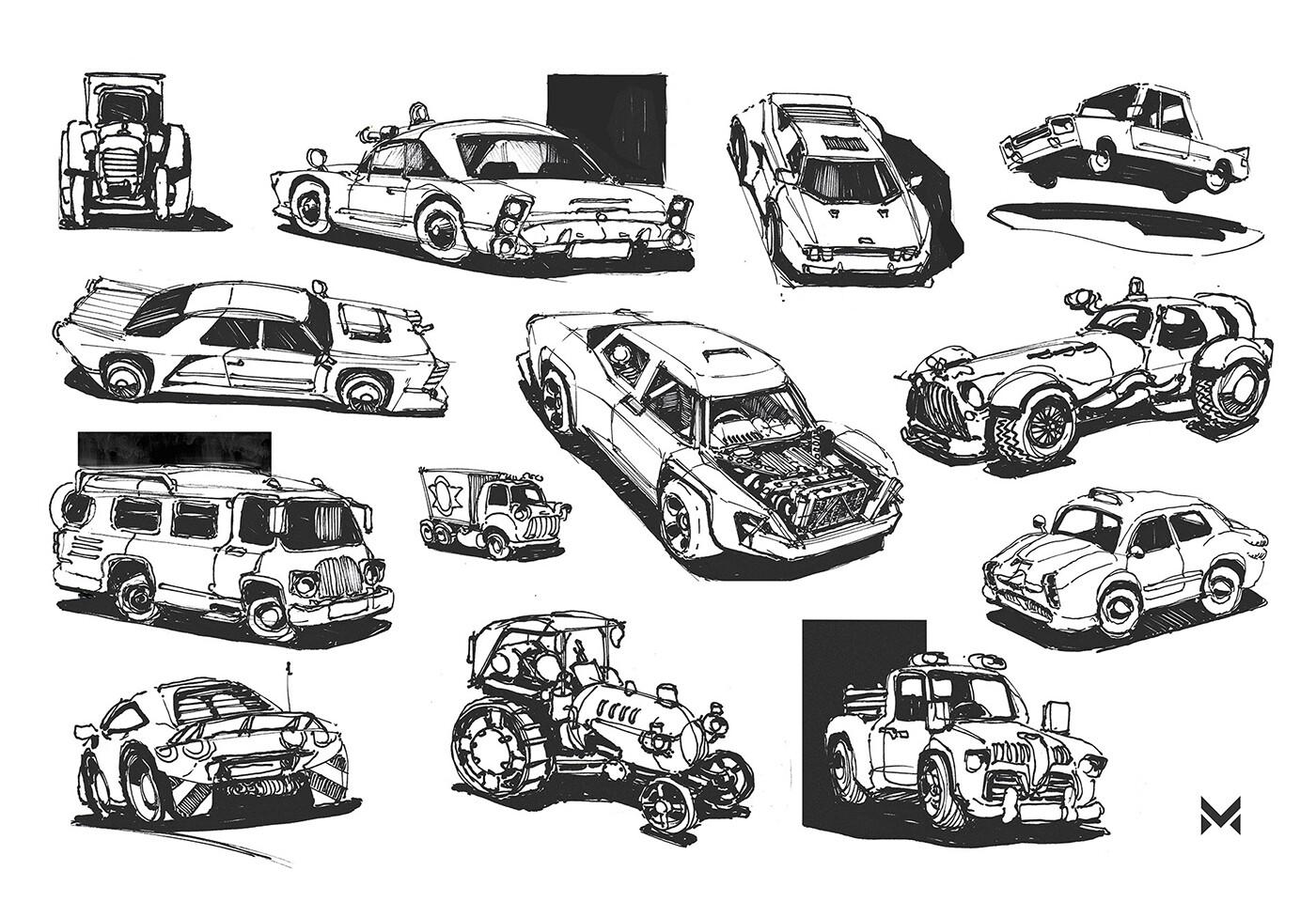 60s retro vehicle sketches