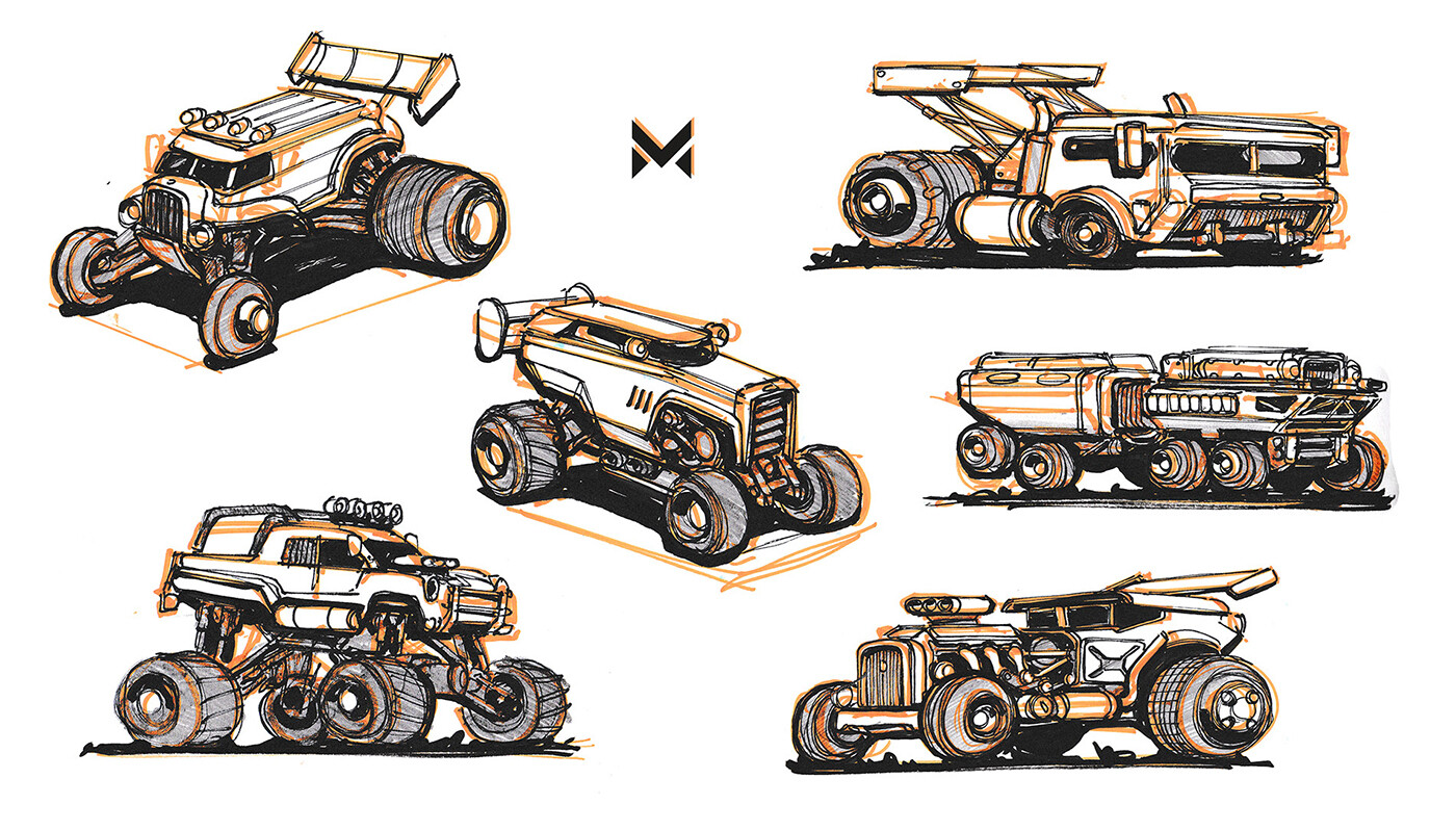 Offroad-hotrod vehicles - inspired by the movie 'Mad Max'