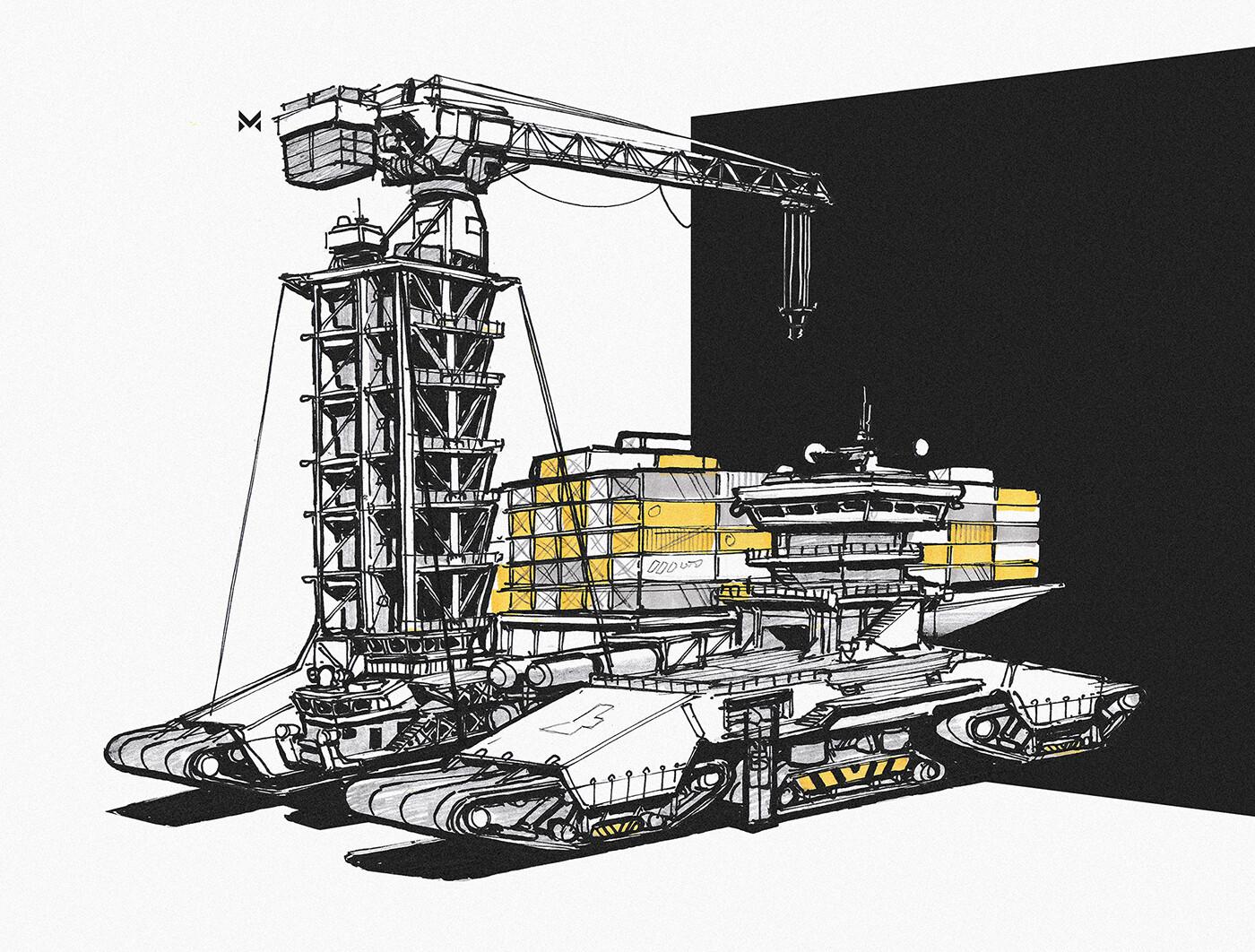 Heavy duty mobile cargo-crane concept