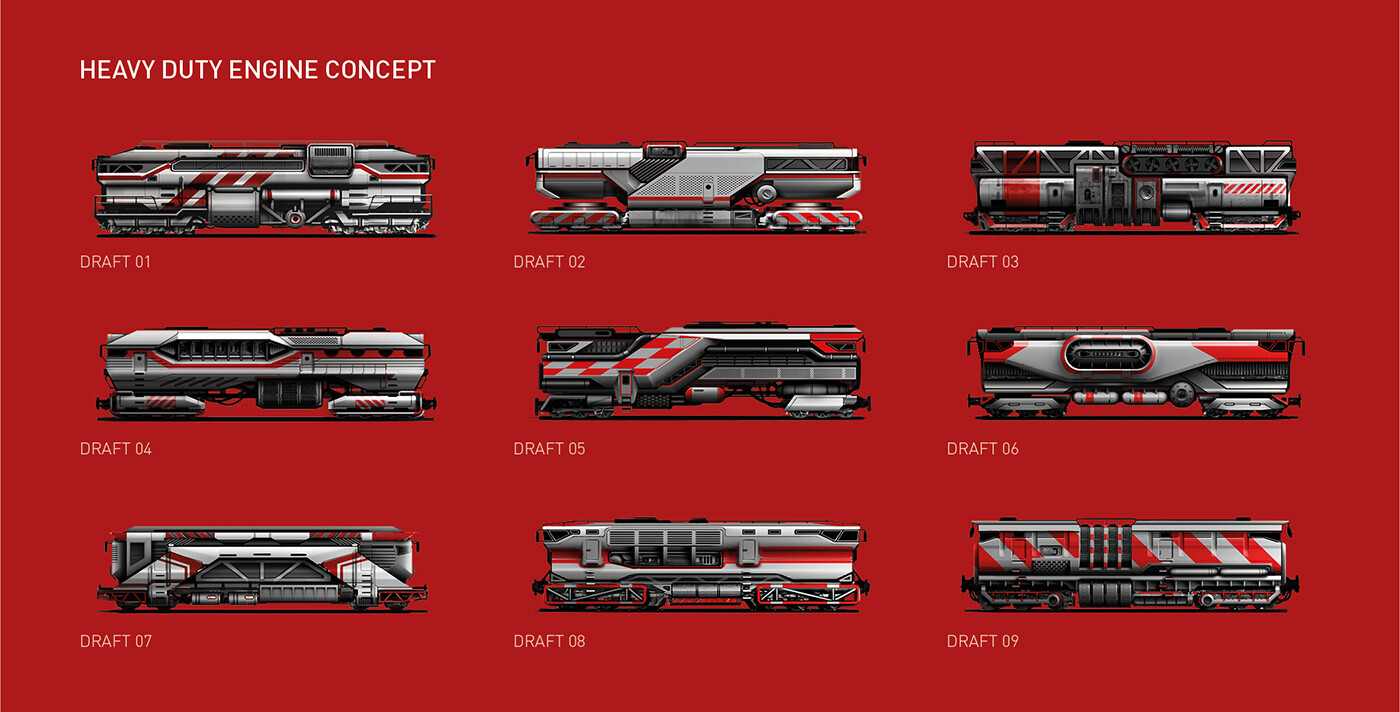 Rail engine - design drafts