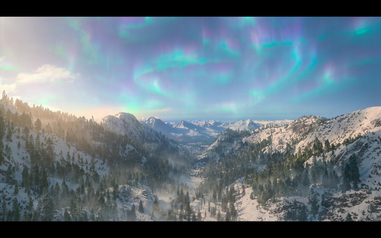 The artic wilderness environment where Santa is chasing Jola
