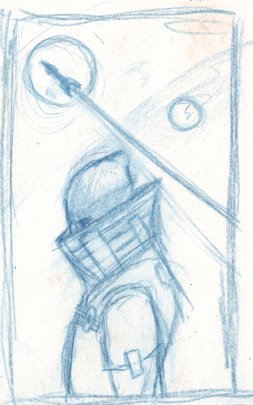 The thumbnail I worked from for the final painting. This is about 2 inches by 3 inches on sketch paper using an Indigo Blue Verithin Prismacolor pencil. I love doing my sketches with that pencil.