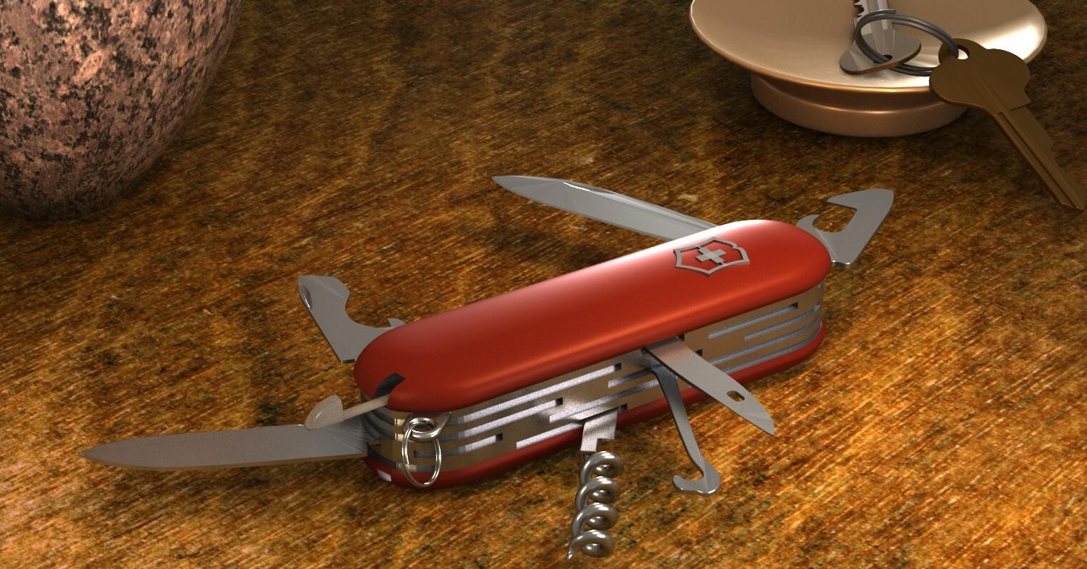 Fully rendered swiss army knife scene