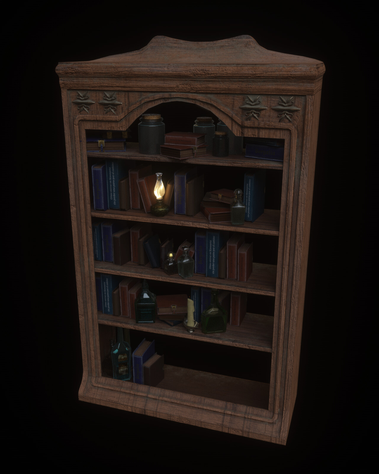 Another one of the assets, the library, filled with little objects. The lack of objects in the right part helped optimize the scene, and run smoothly in my computer.
