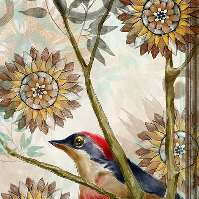 Waterlili jia one bird 24x36 15