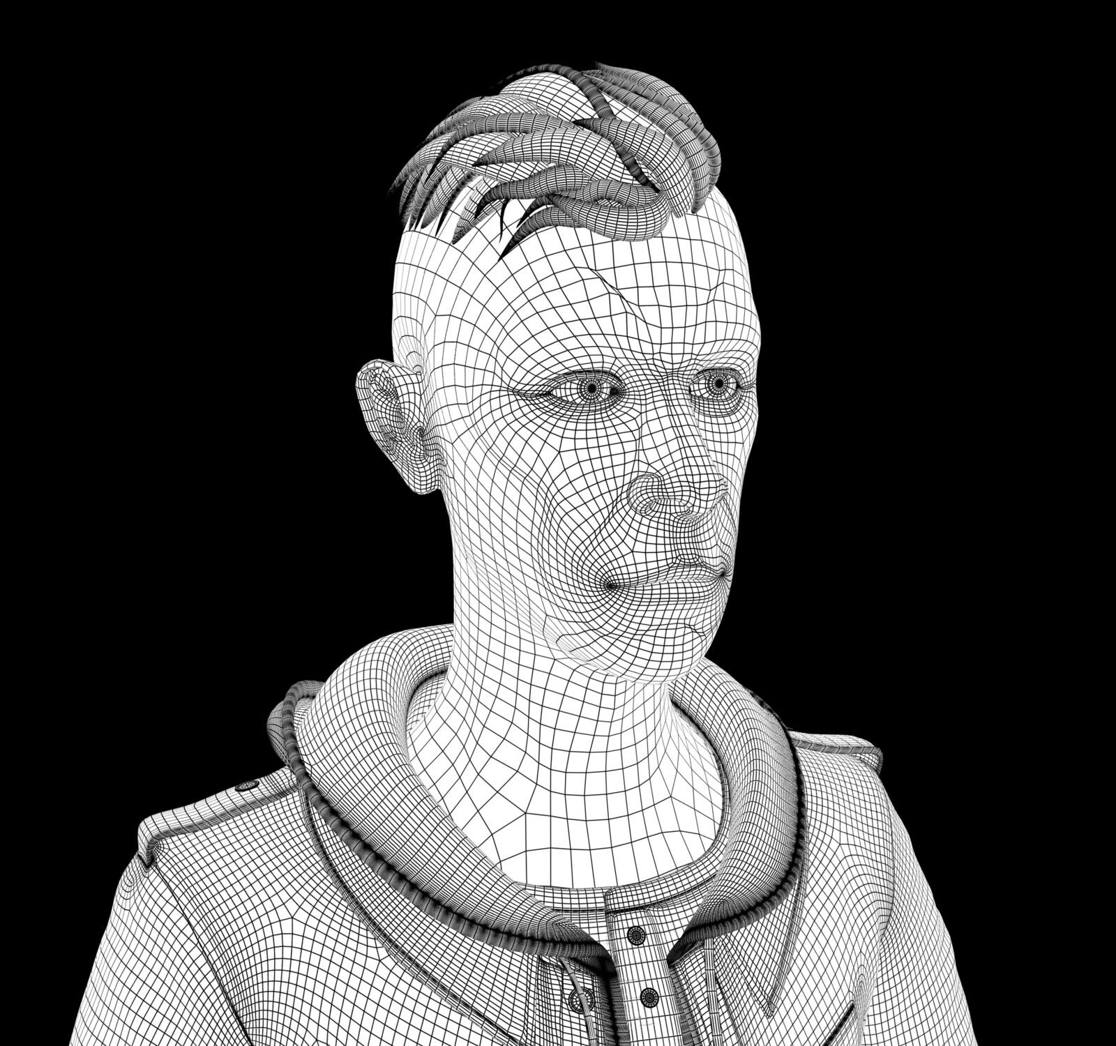 Low-res Wireframe (always creepy looking honestly)