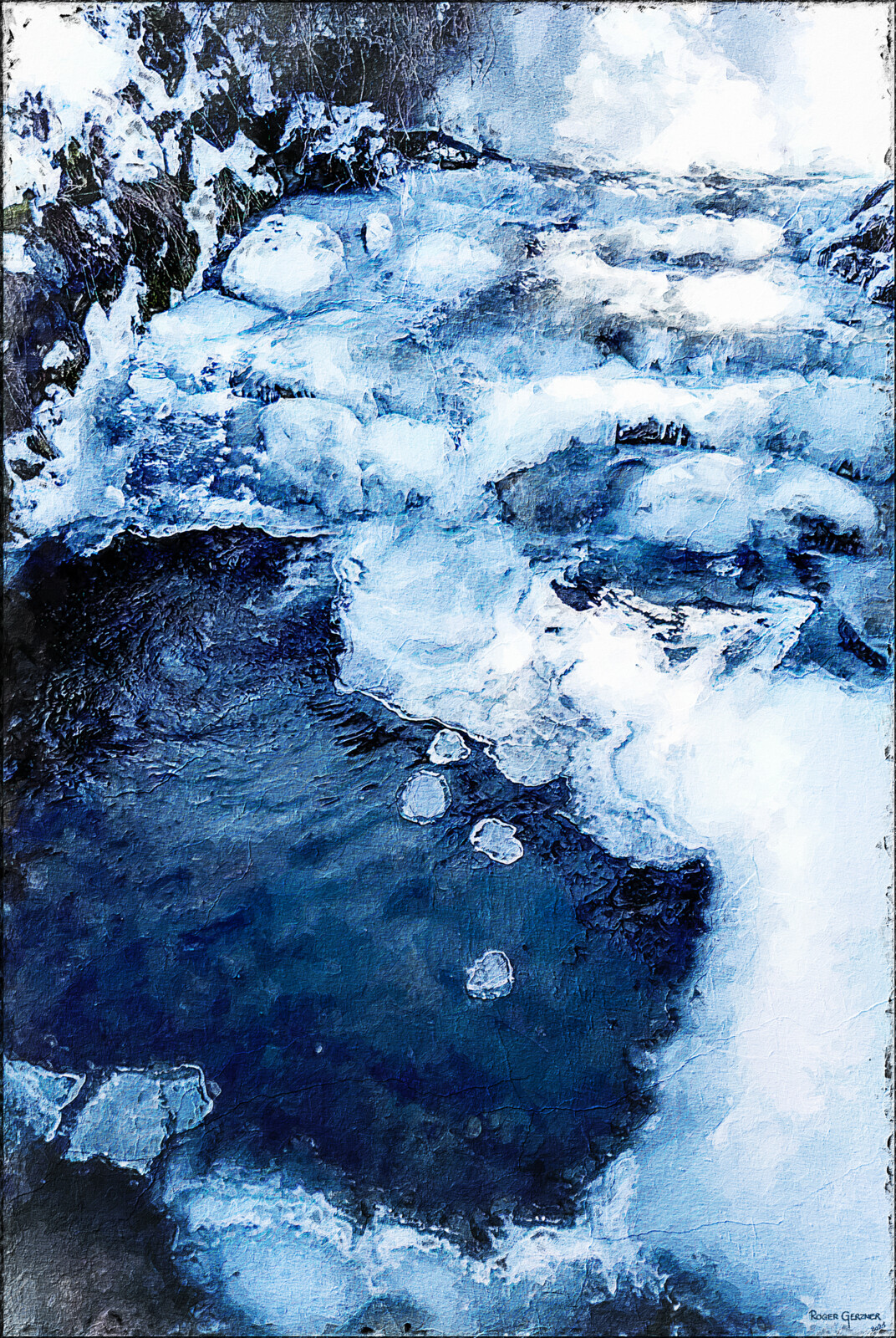 Icy Creek in the winter of 2017  - Digital Oil Paint